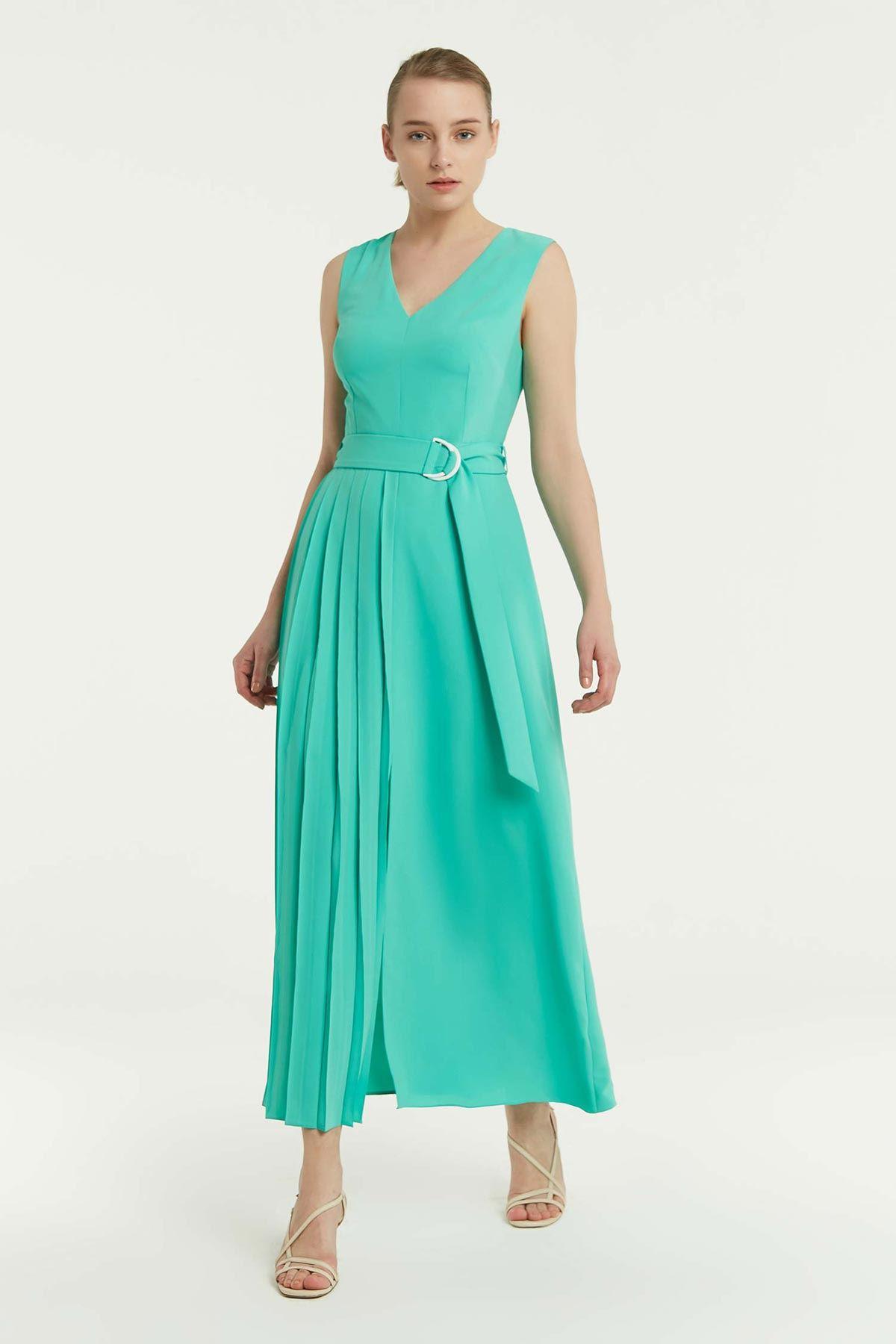 Yan Piliseli Kolsuz Elbise Mint