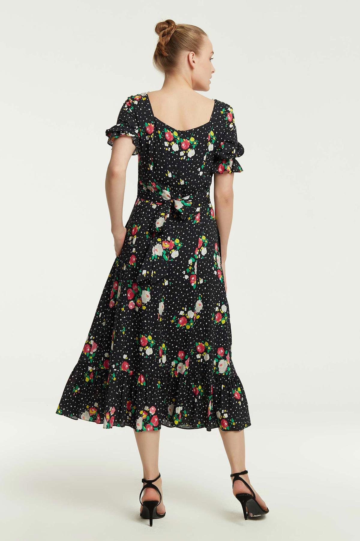 Çiçek Desenli Kloş Elbise Siyah