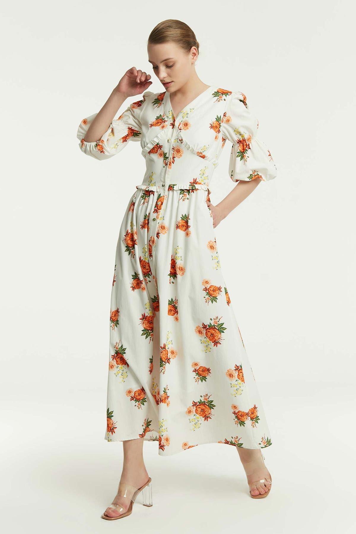 Bel Vurgulu Çiçekli Elbise Oranj