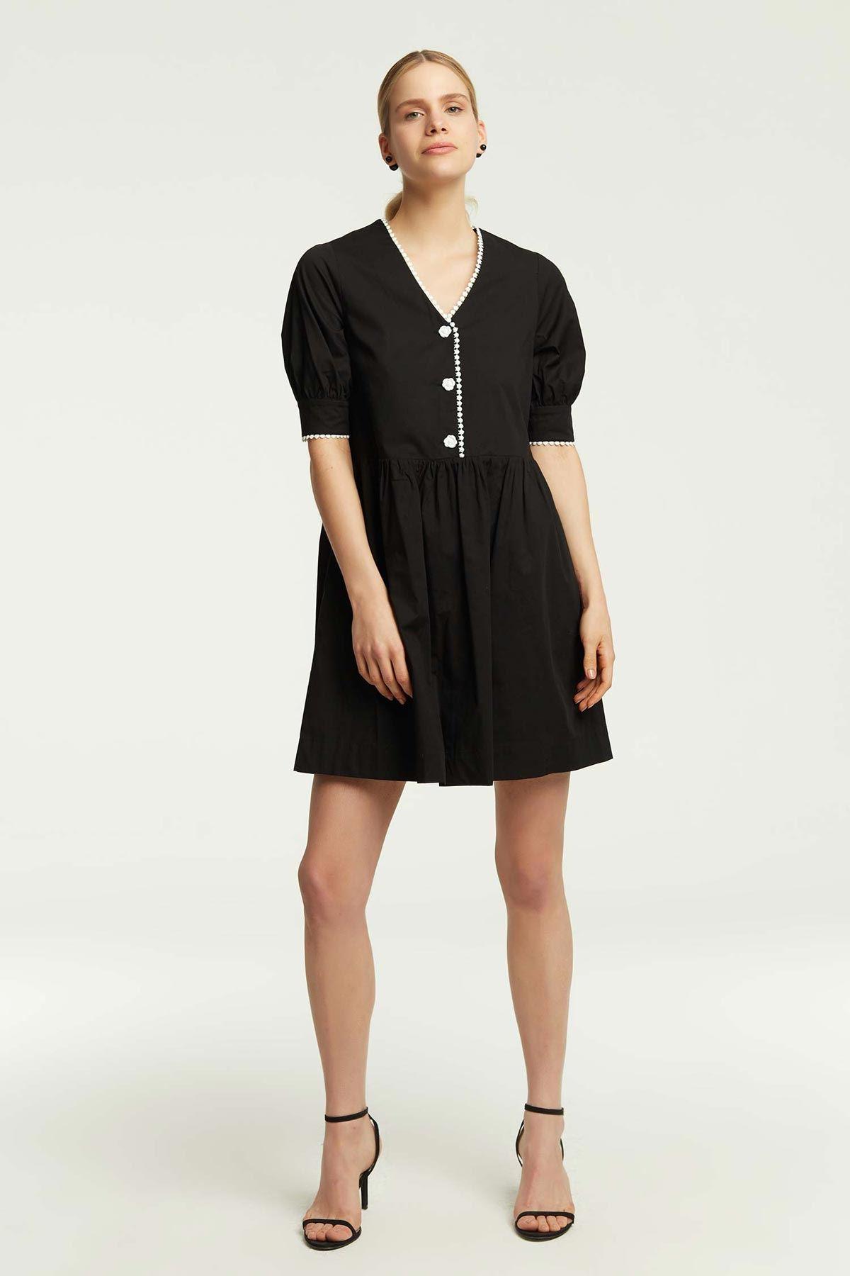 Şerit Geçişli Elbise Siyah