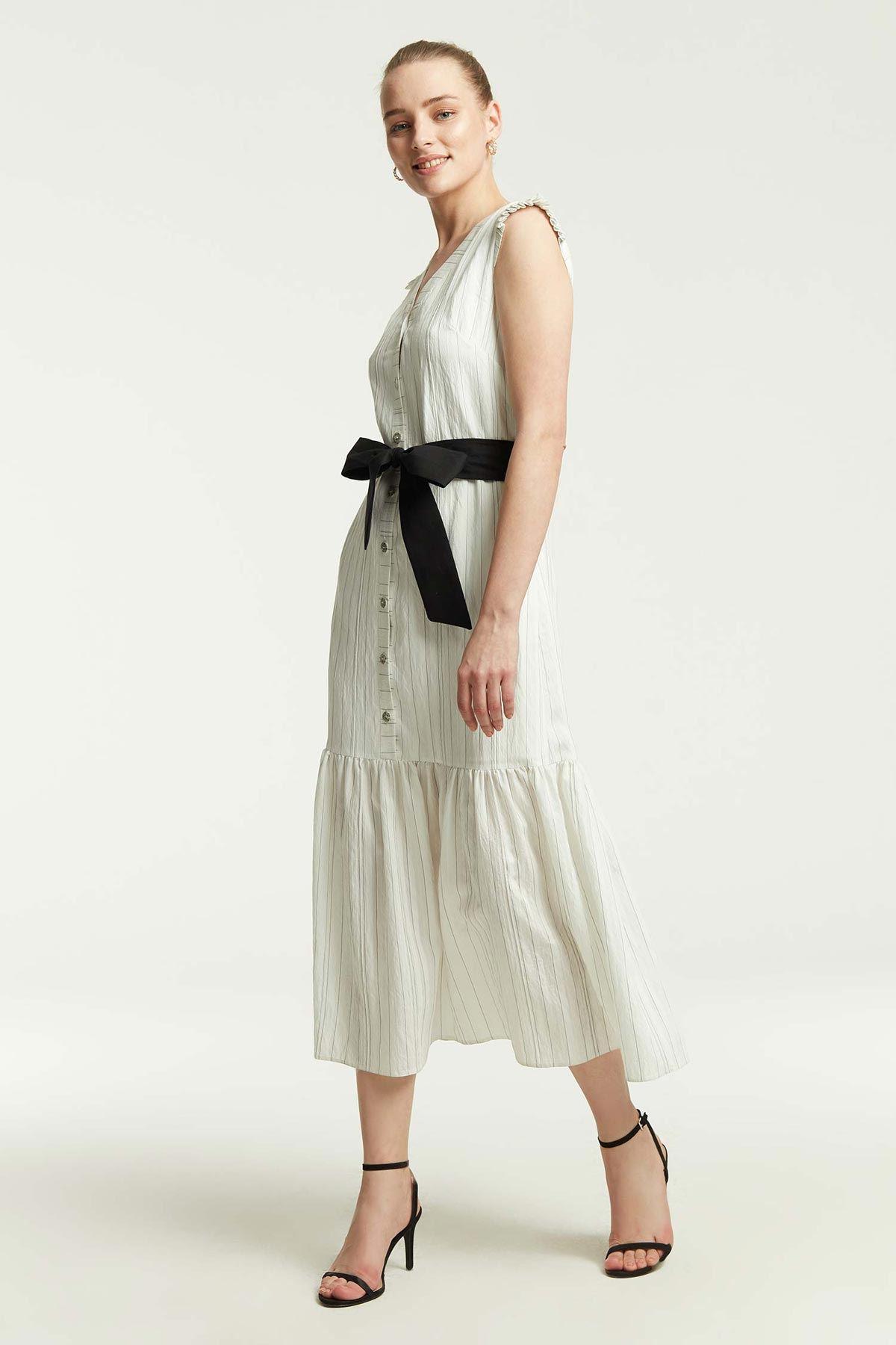 Omuz Fırfırlı Çizgili Elbise Beyaz