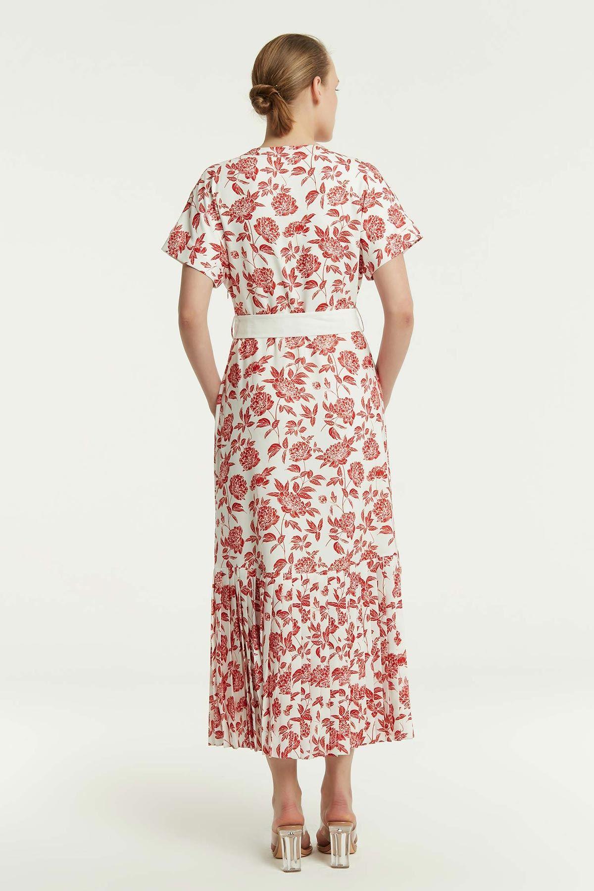 Piliseli Desenli Elbise Kırmızı