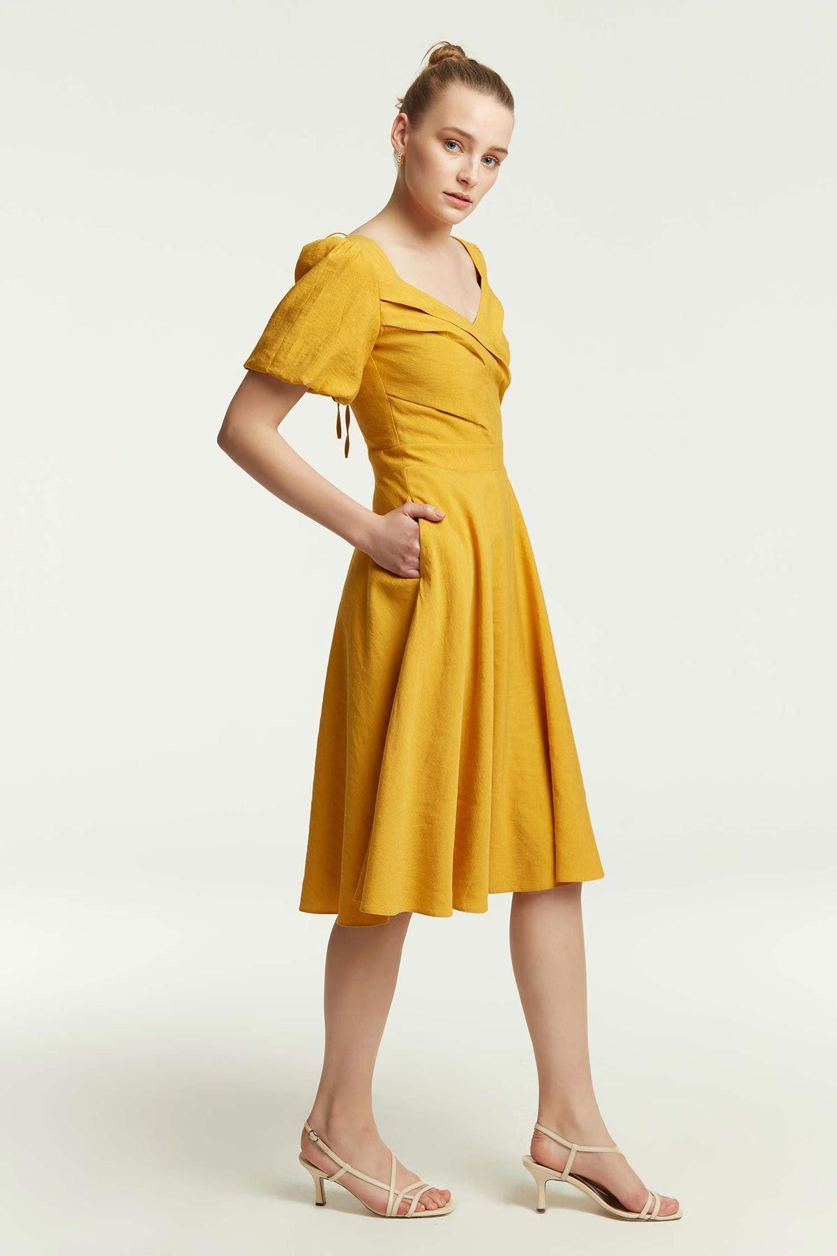 Balon Kollu Eteği Volanlı Elbise Safran