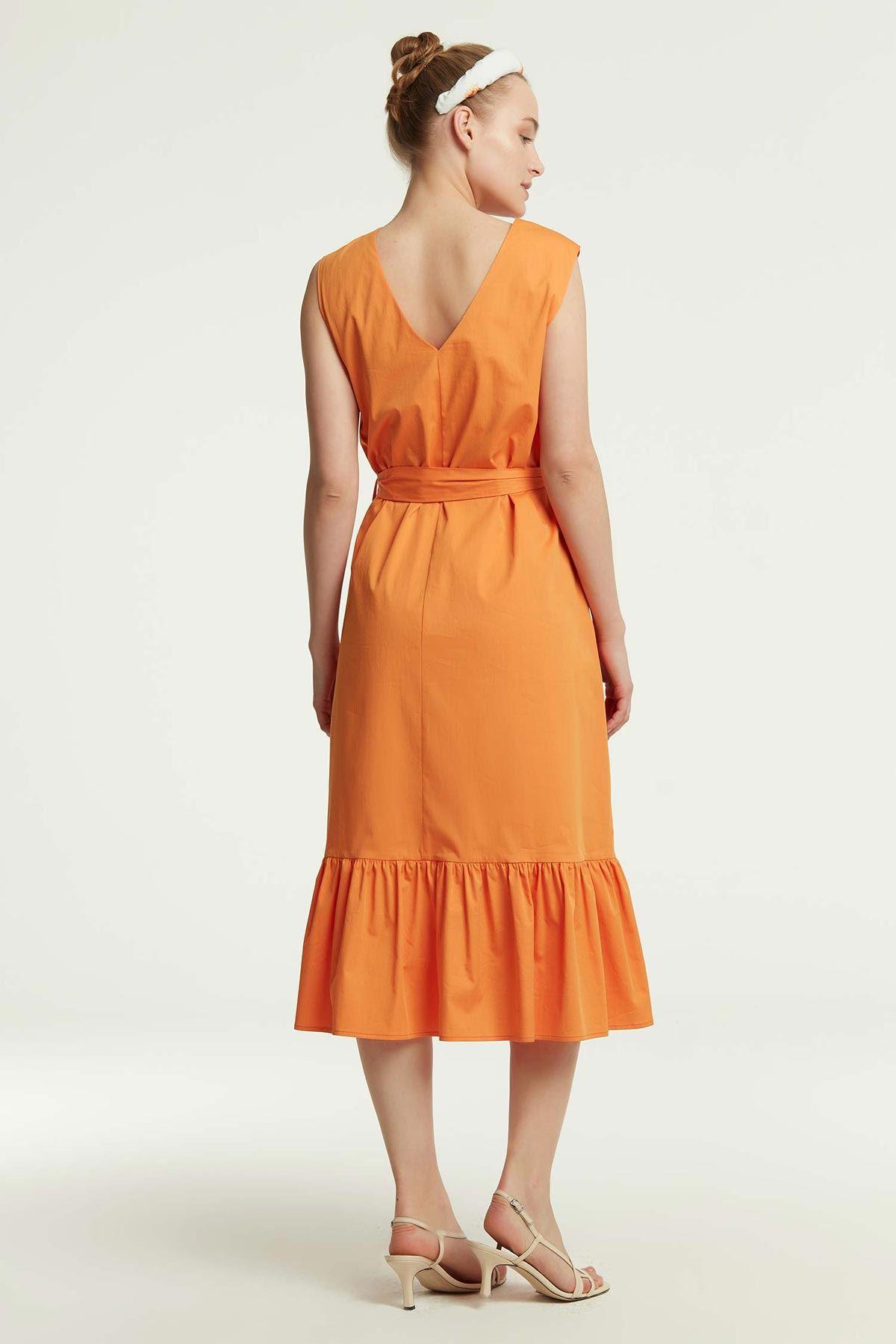 Etek Ucu Fırfırlı Elbise Oranj