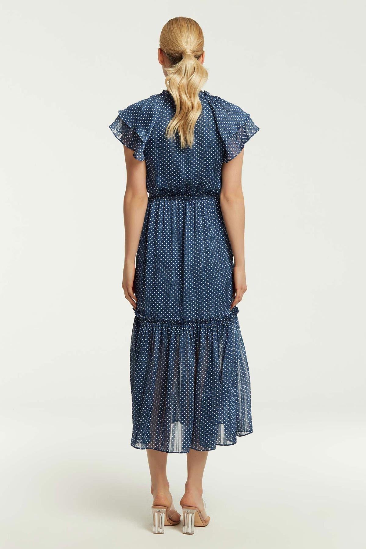 Puantiye Desen Elbise Lacivert