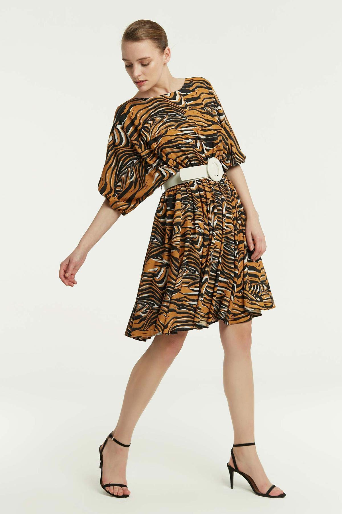 Zebra Desenli Kemerli Elbise Multi