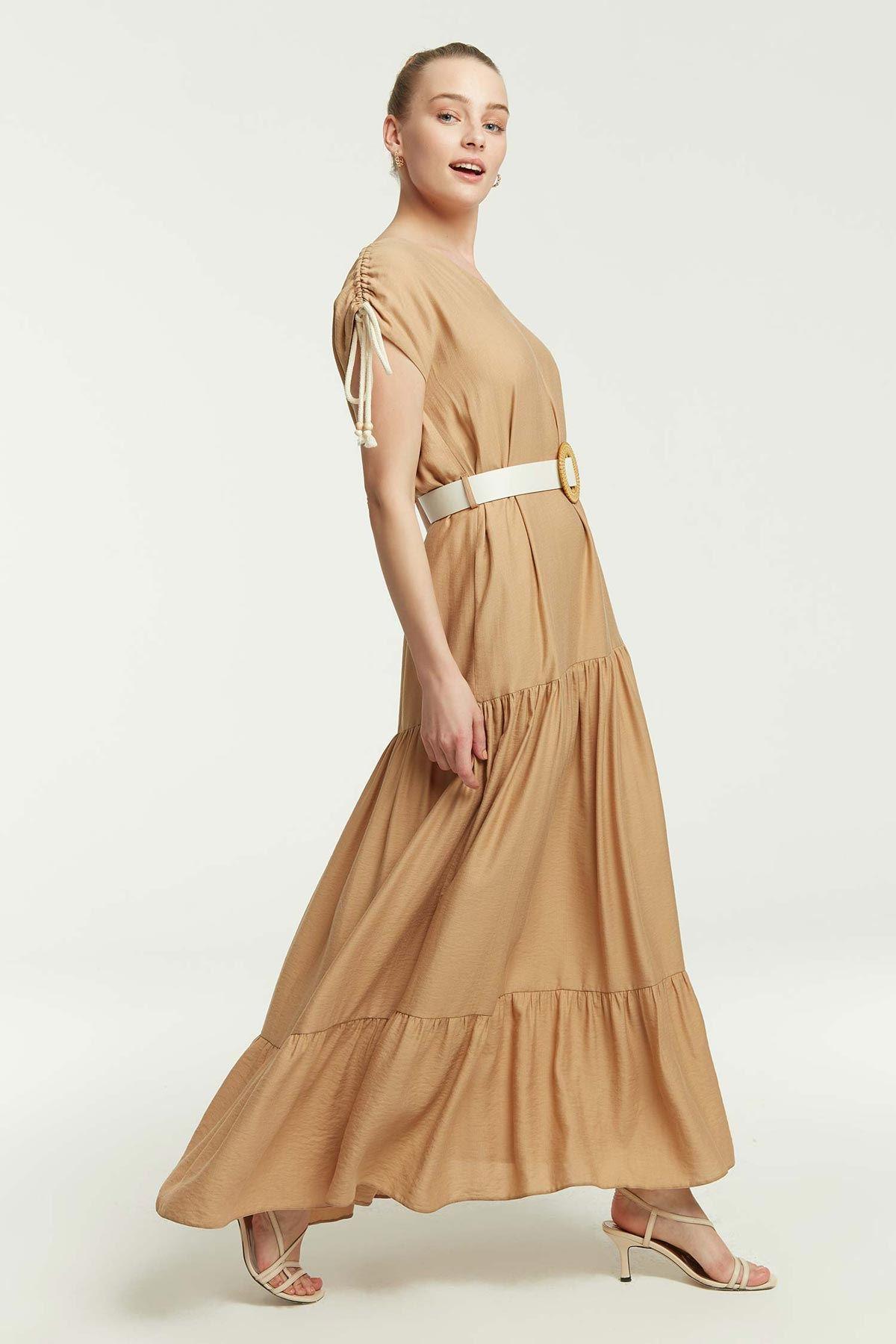 Omuz Bağçıklı Kemerli Elbise Camel