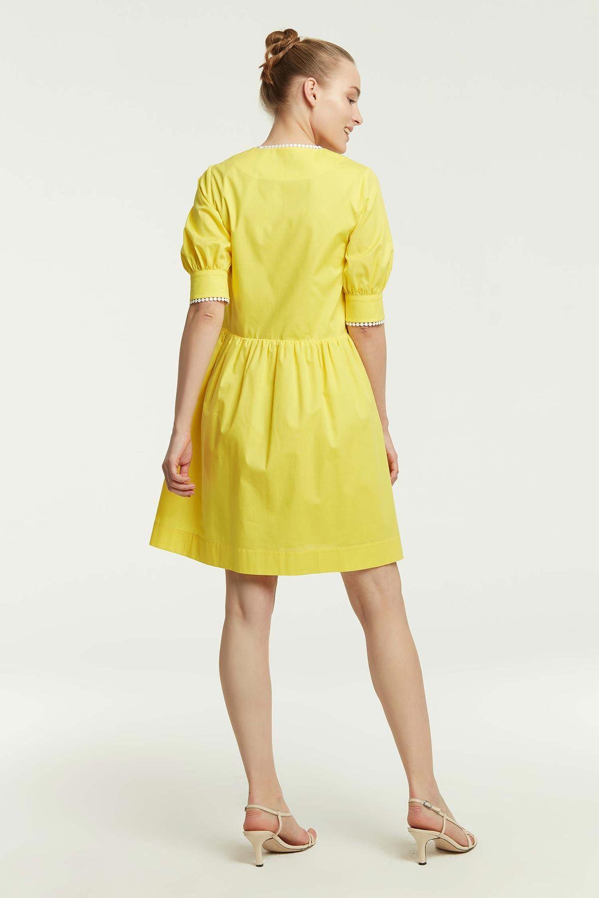 Şerit Geçişli Elbise Sarı