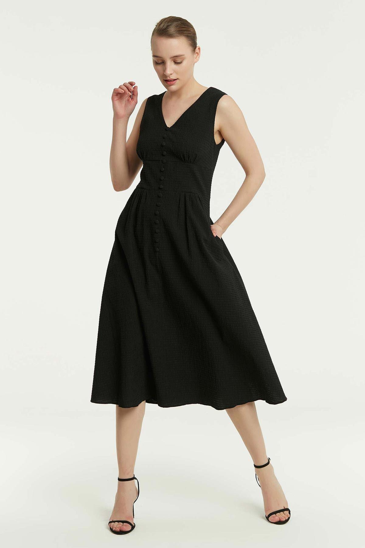 Sırt Dekolteli Elbise Siyah