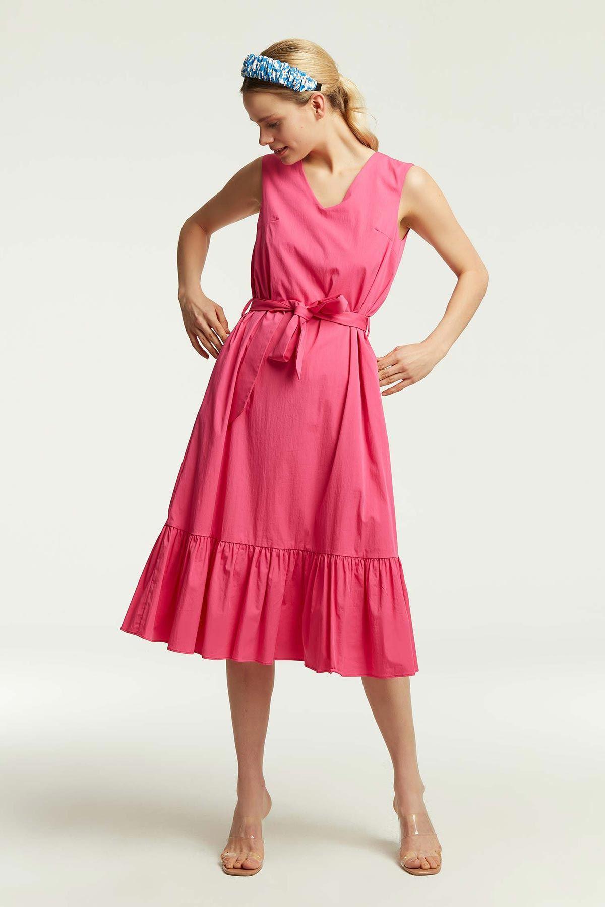 Etek Ucu Fırfırlı Elbise Fuşya
