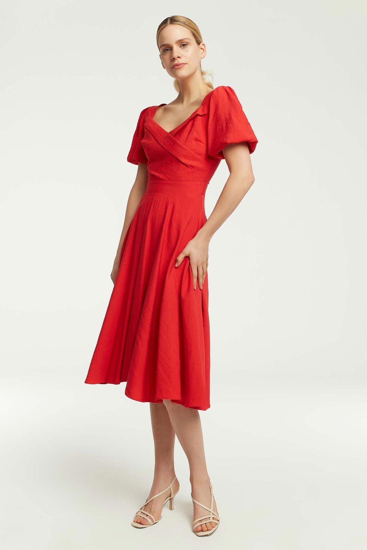 Balon Kollu Eteği Volanlı Elbise Kırmızı
