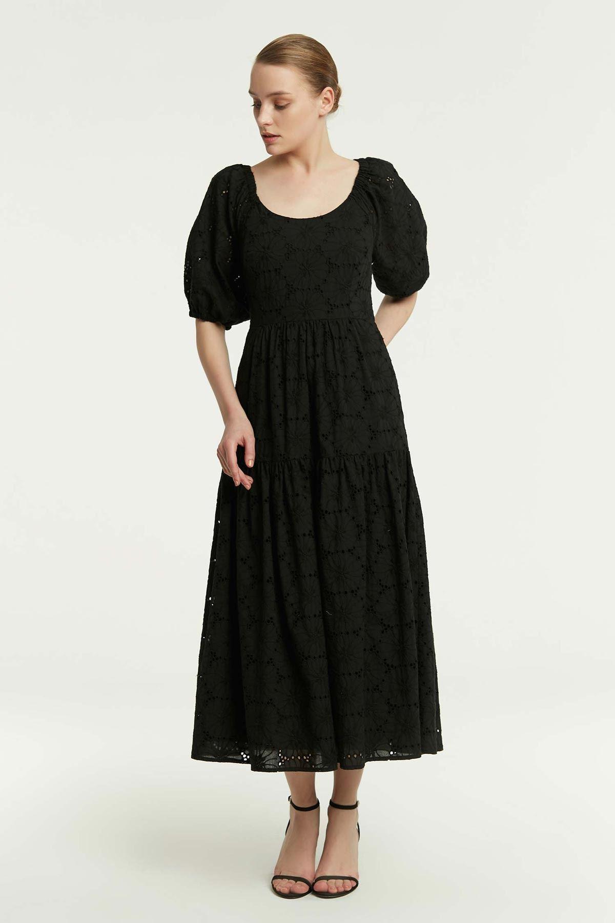 Balon Kol Brodeli Elbise Siyah