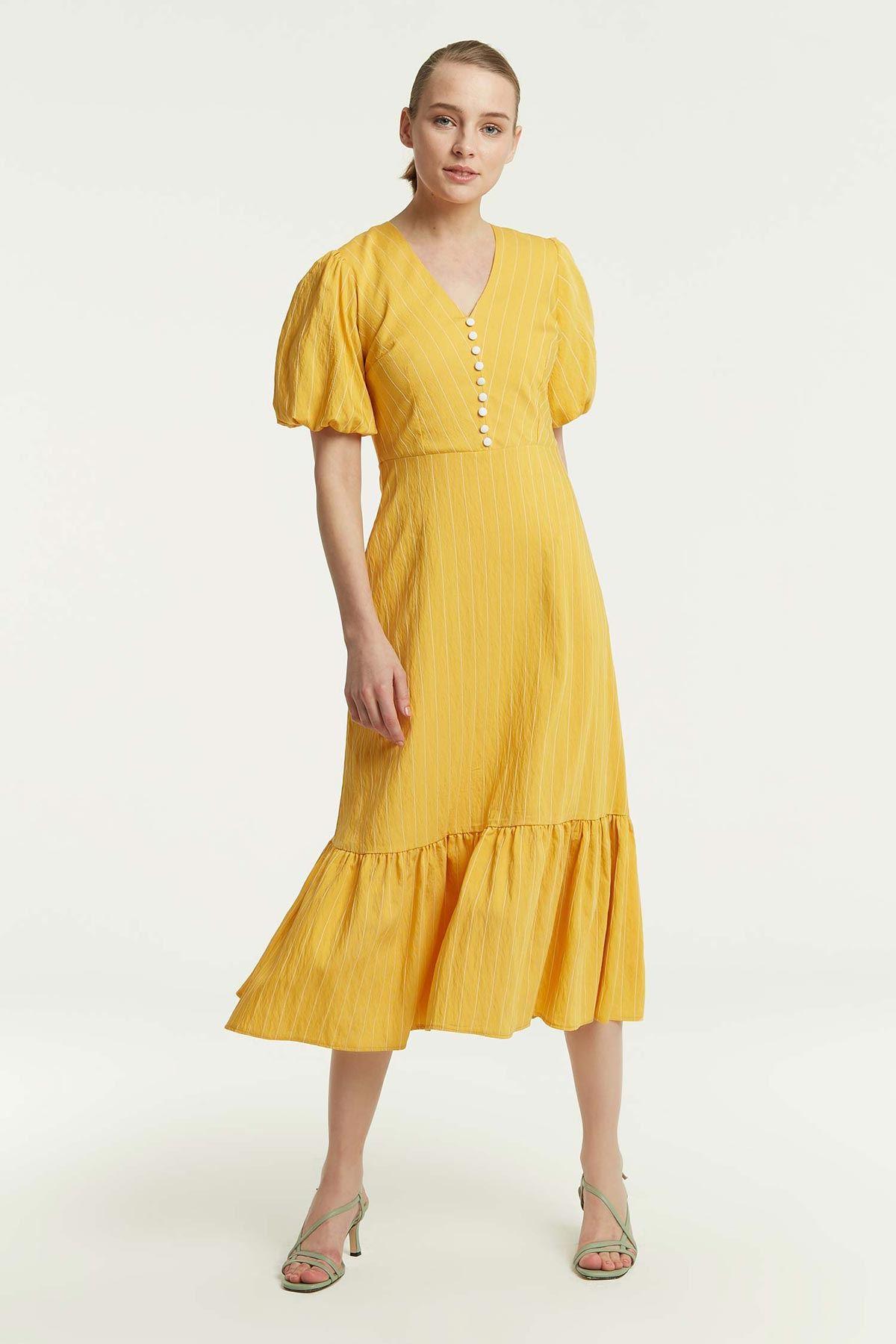 Balon Kol Süs Düğmeli Elbise Sarı