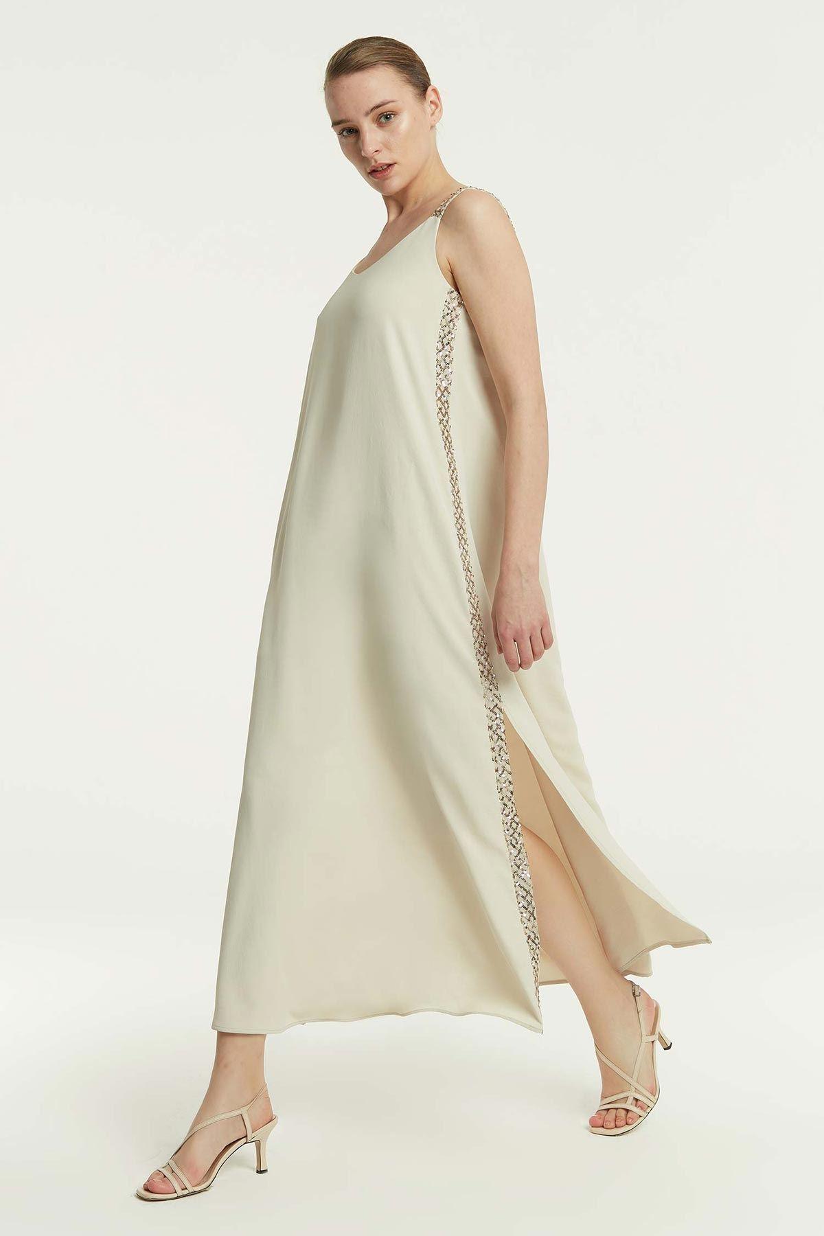 Yan Şeritli Elbise Bej