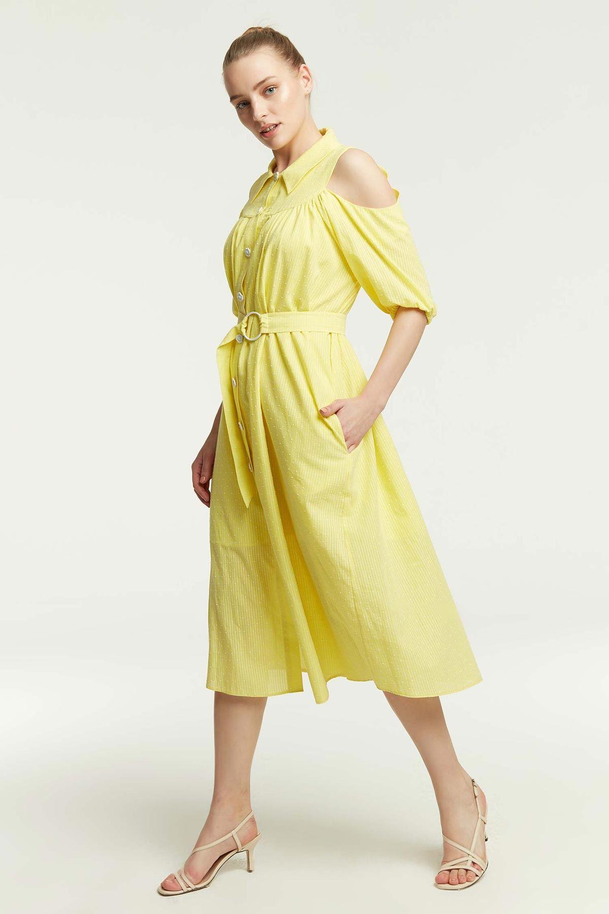 Omuz Dekolteli Gömlek Elbise Sarı