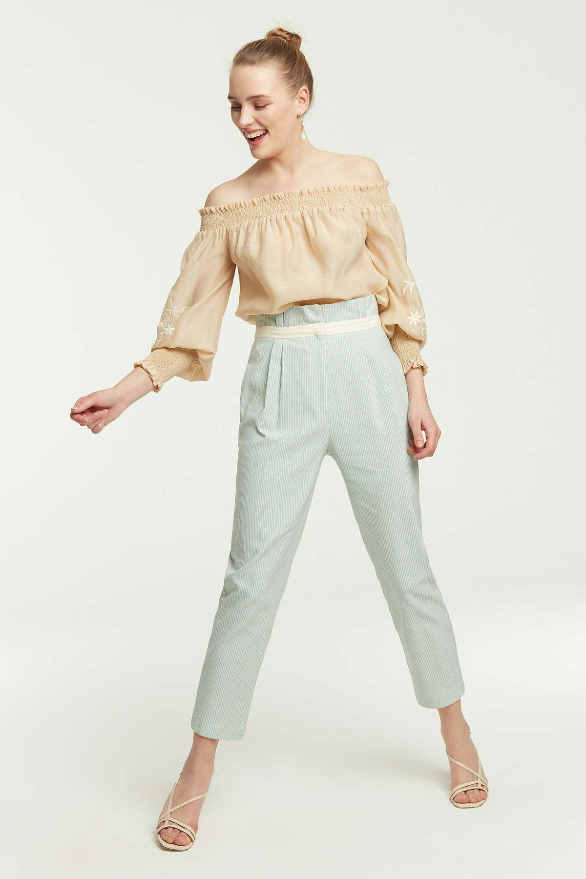 Çizgili Havuç Pantolon Mint