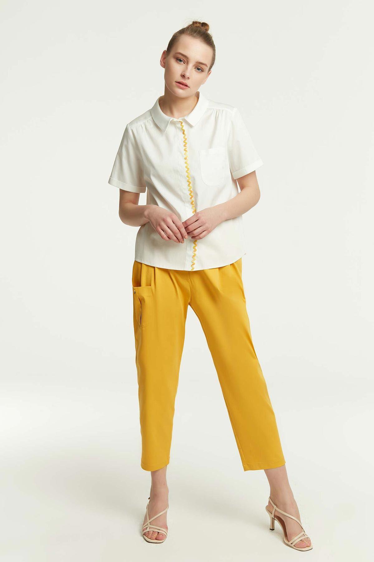 Renkli Şerit Geçmeli Gömlek Beyaz