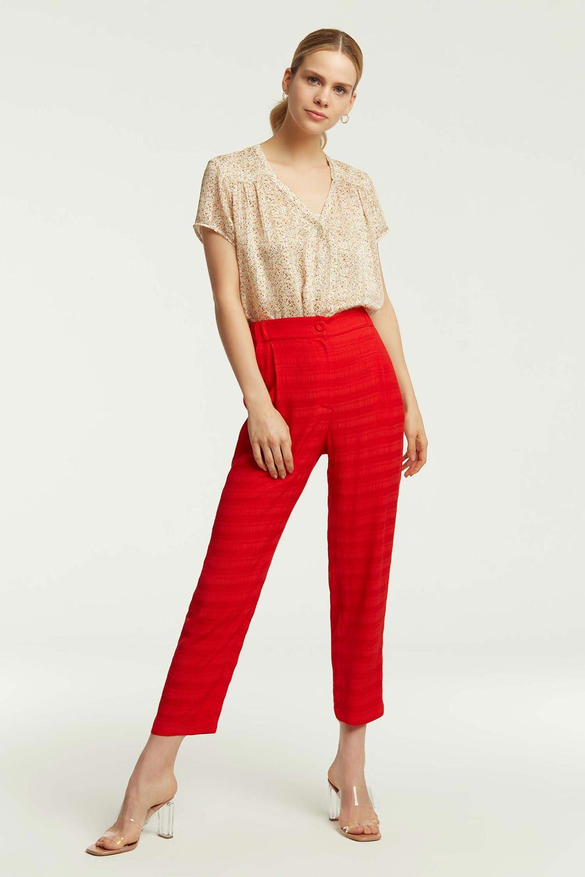 Bel Lastikli Havuç Pantolon Kırmızı