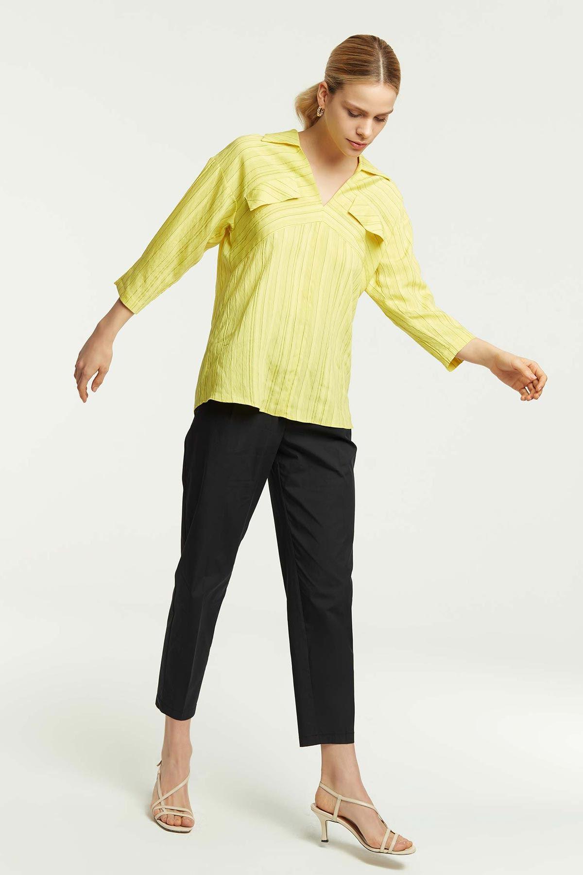 Süs Cepli Truvakar Kollu Bluz Sarı