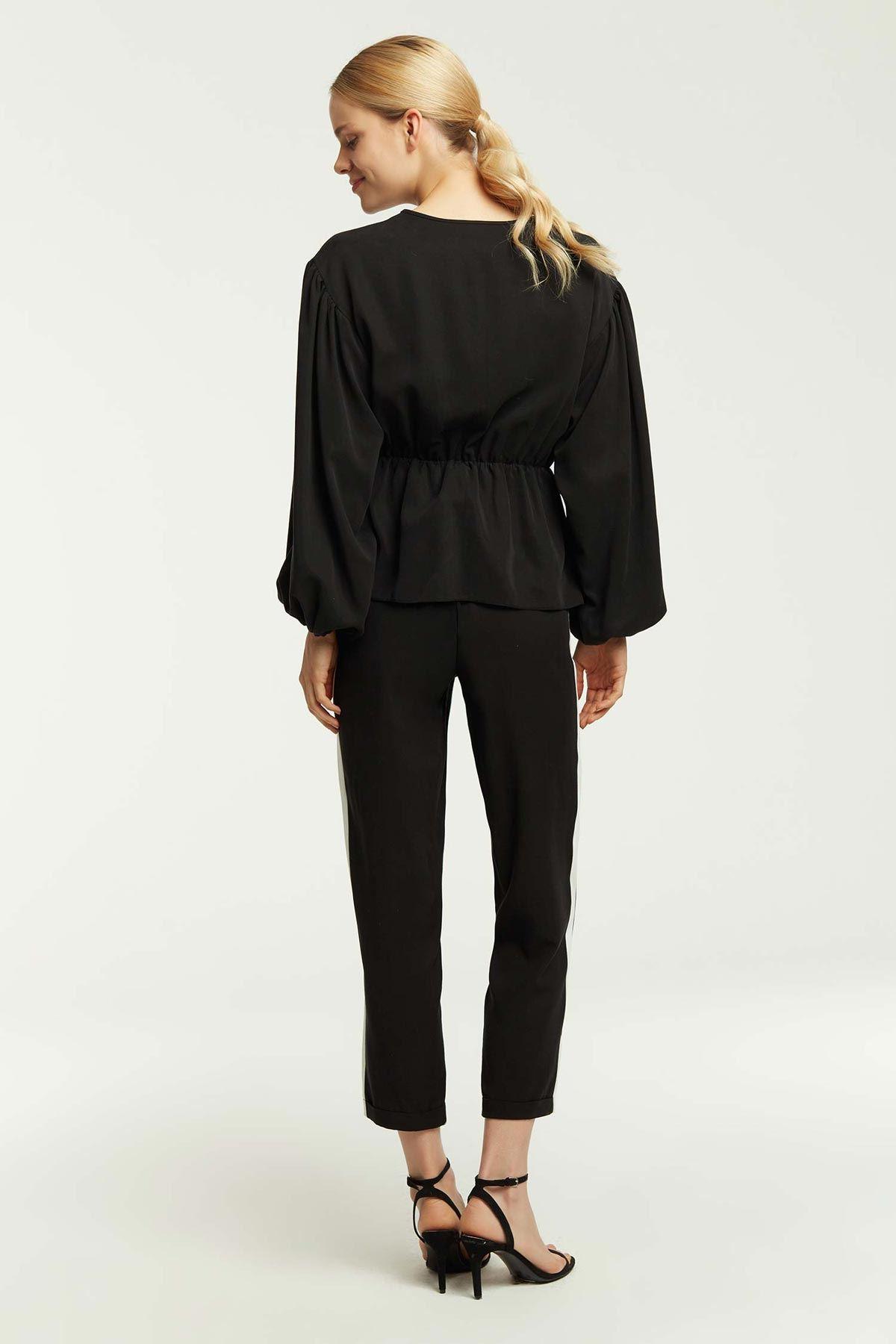 Balon Kol Bel Büzgülü Bluz Siyah