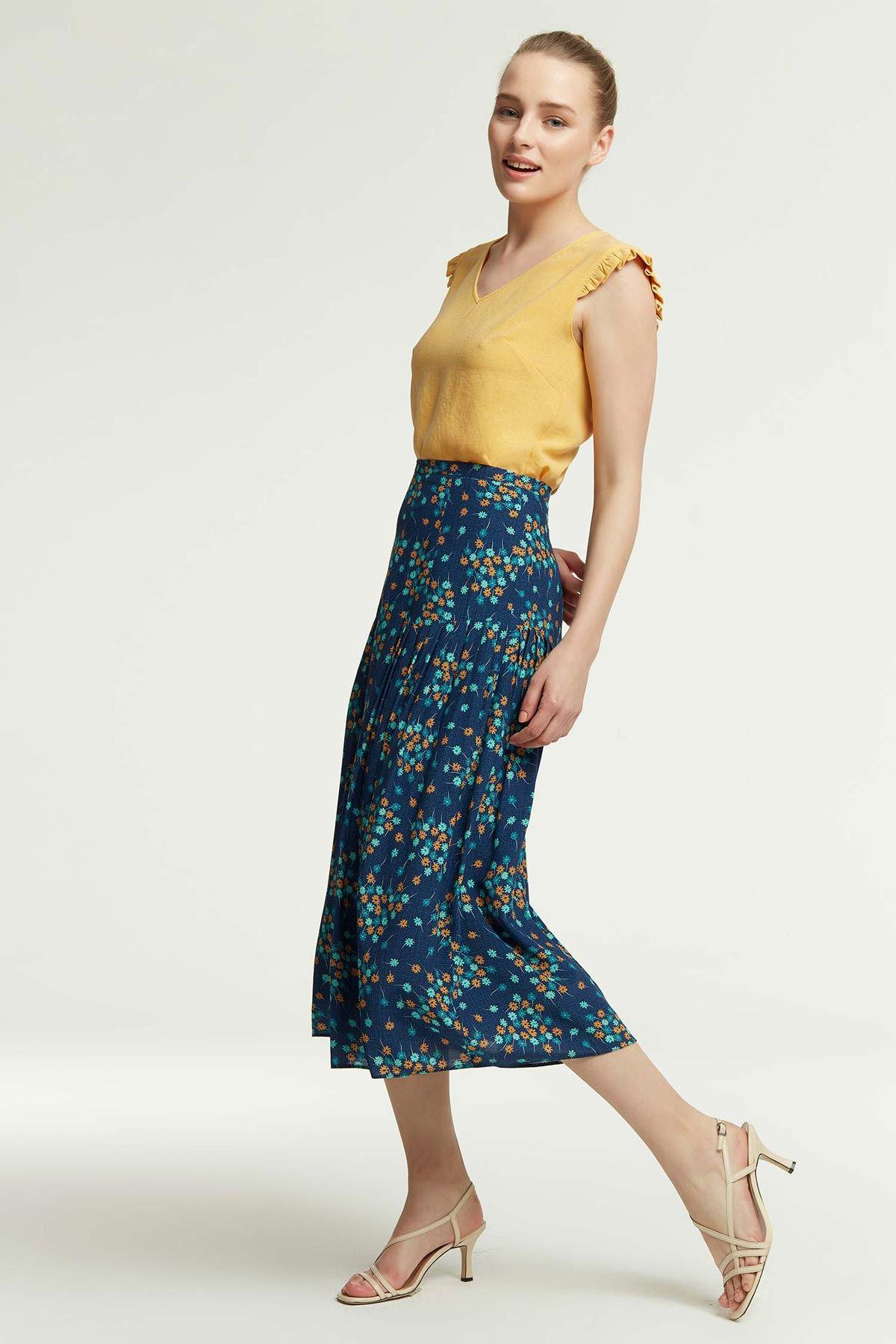 Omuz Fırfırlı Bluz Sarı