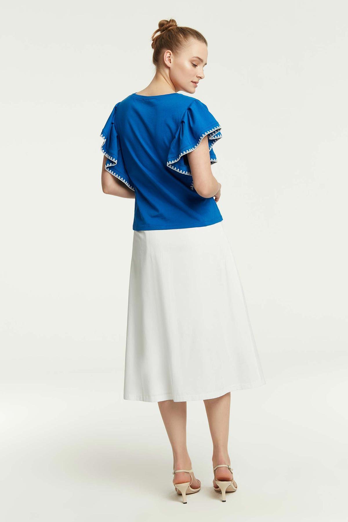 Kol Fırfırlı T-Shirt Saks
