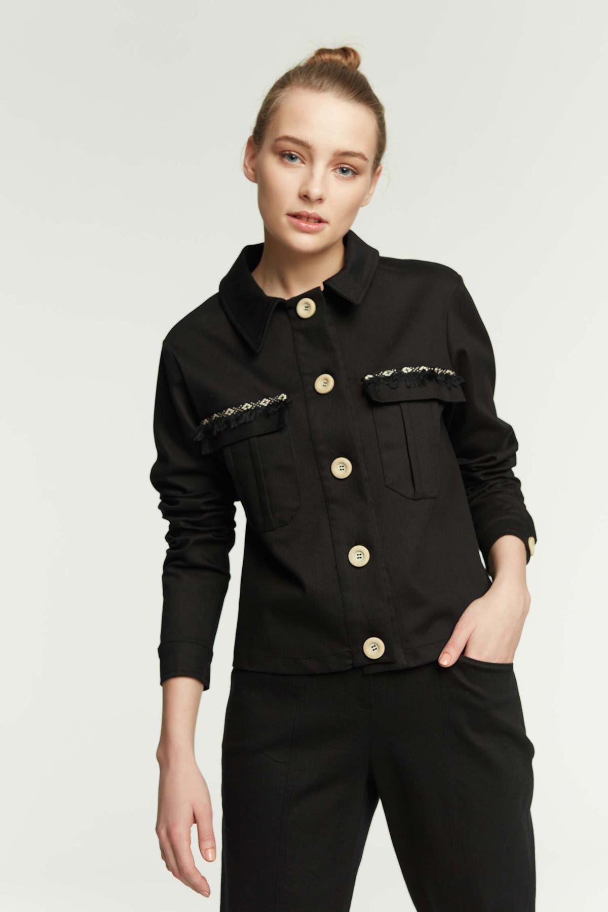 Cep Püskül Detaylı Ceket Siyah