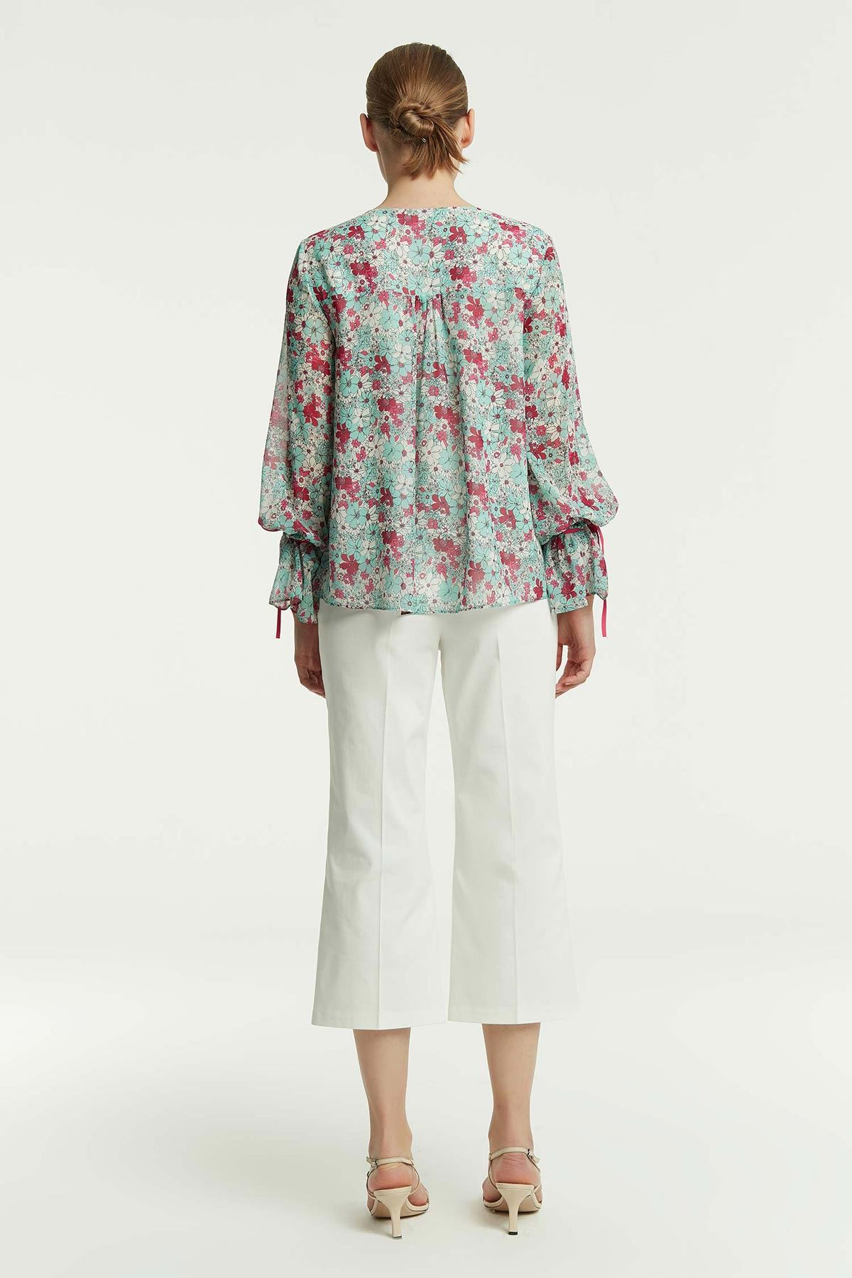Çiçek Desenli Şifon Bluz Multi