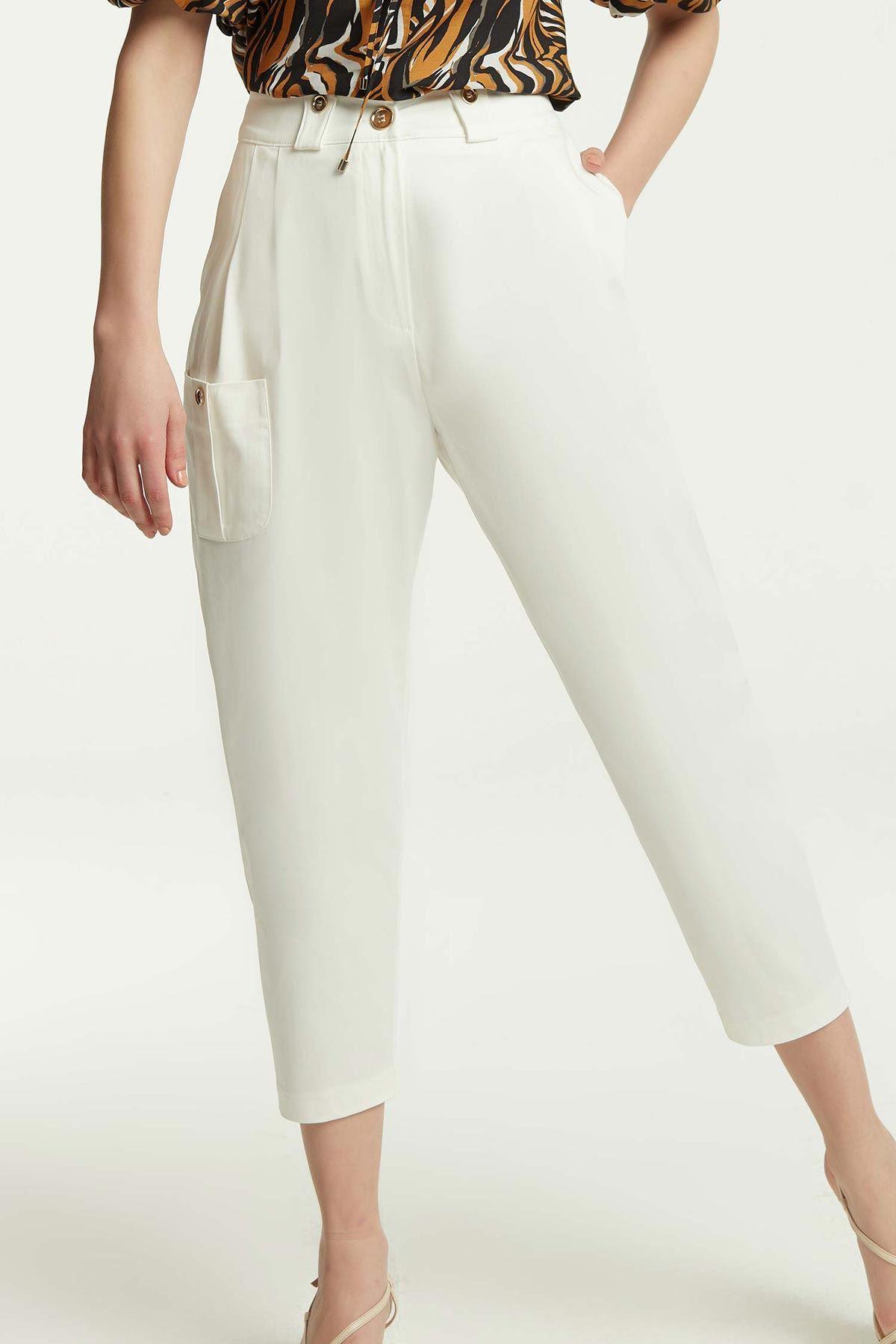 Yüksek Bel Torba Cepli Pantolon Beyaz