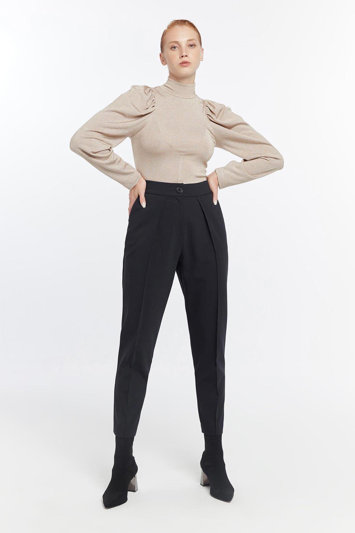 Yüksek bel pantolon Siyah