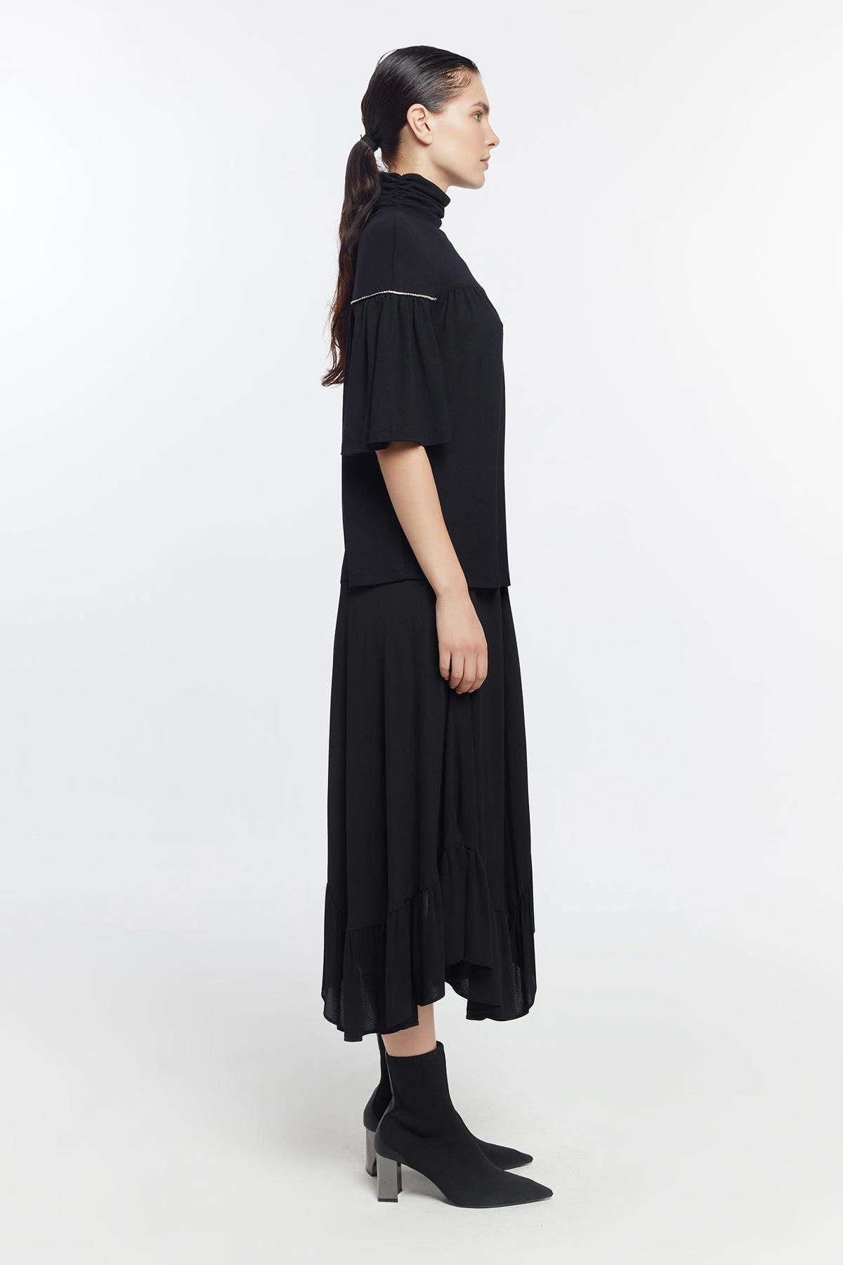 Taş şerit geçmeli büzgülü bluz Siyah