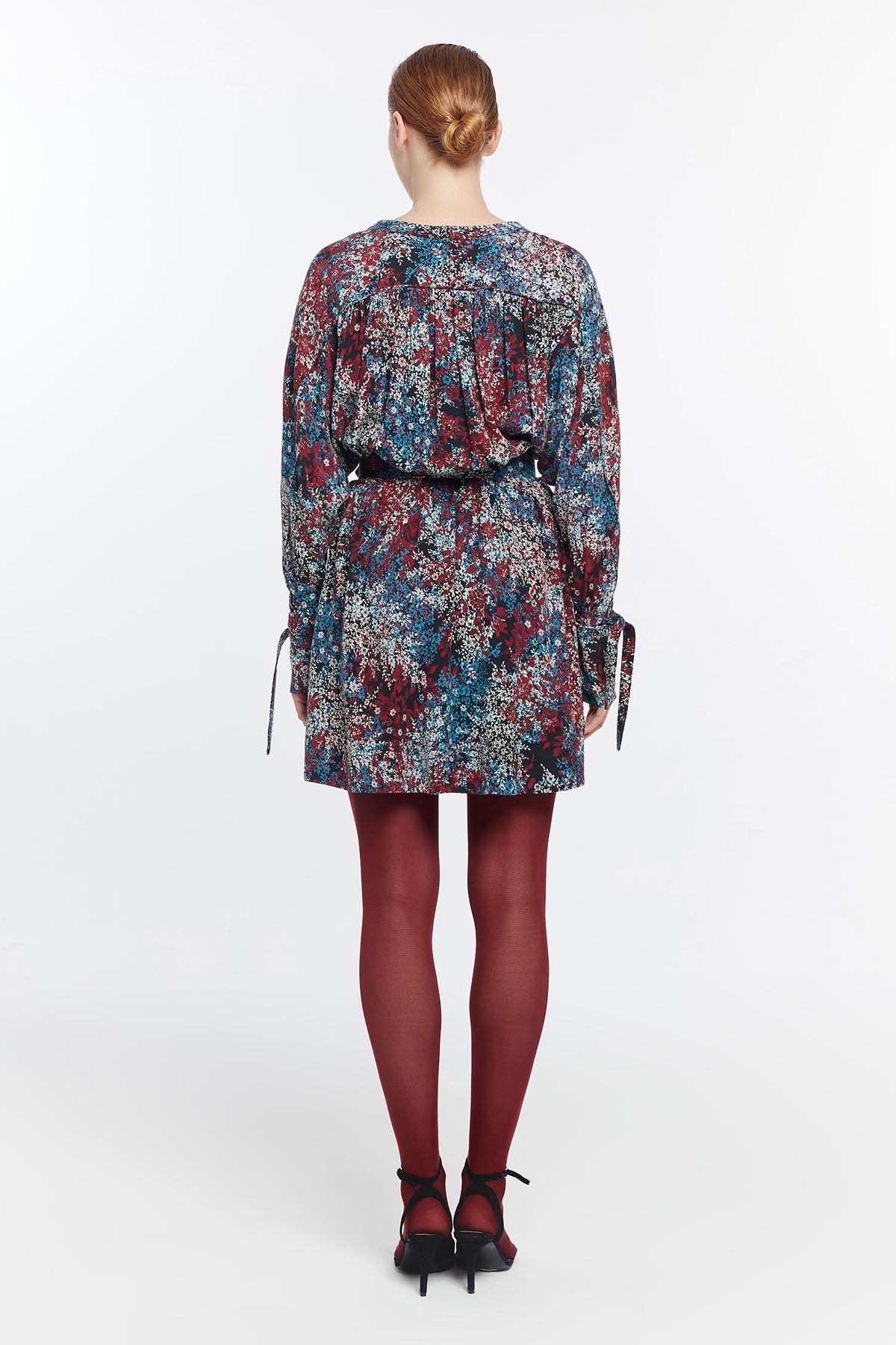 Çiçek desenli kemerli elbise Bordo