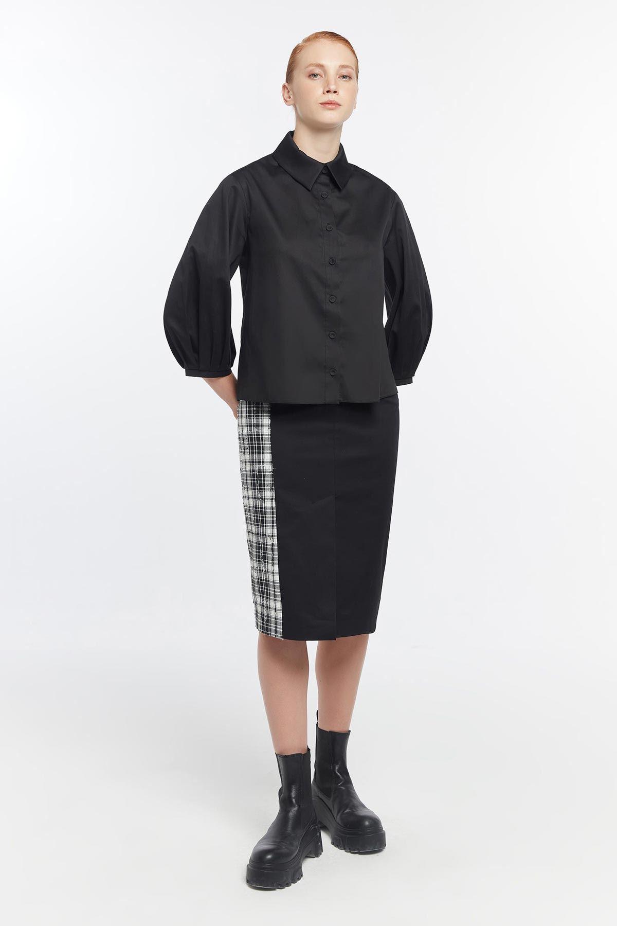 Nakış işlemeli gömlek Siyah