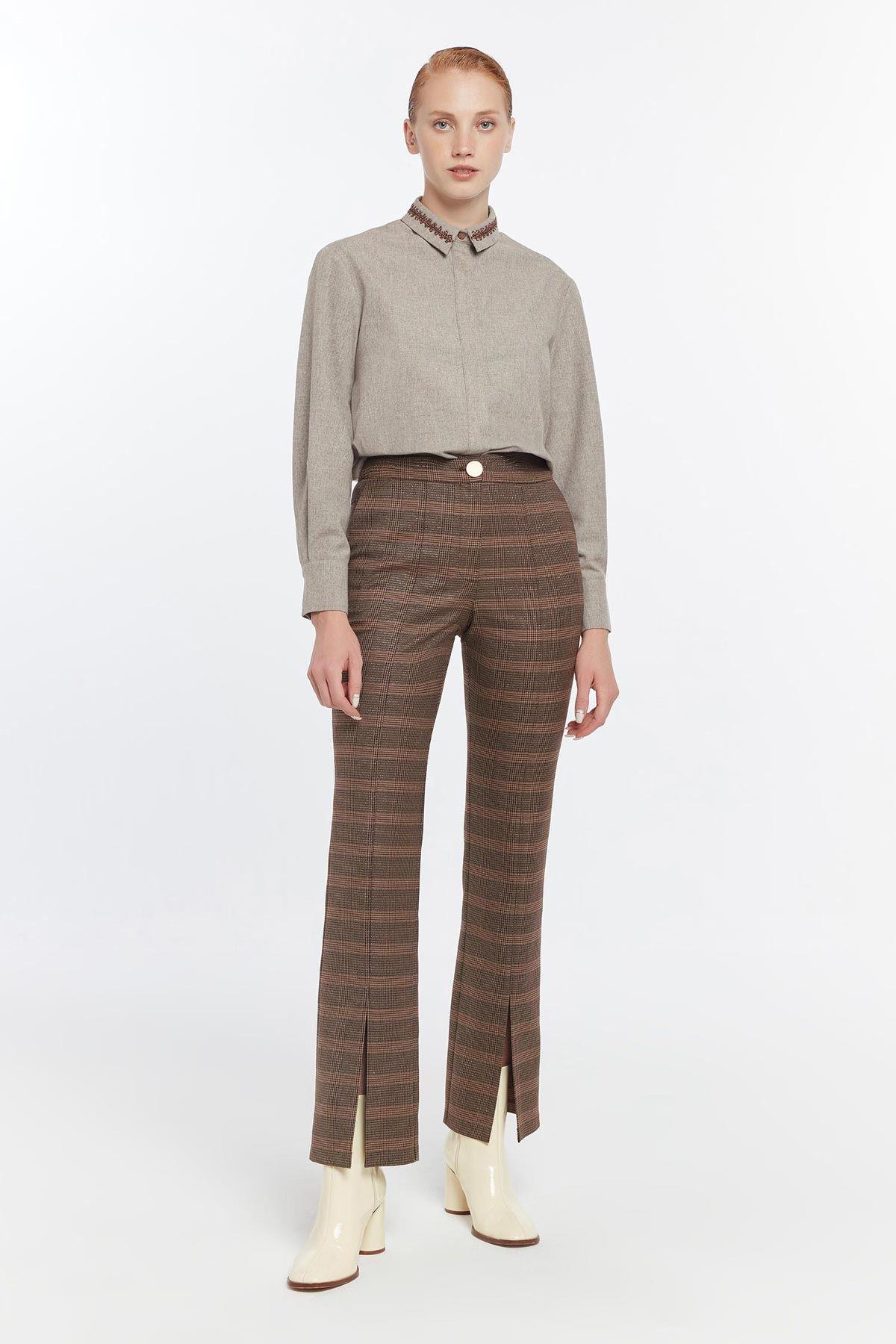 Yırtmaç paçalı flare pantolon Kahverengi