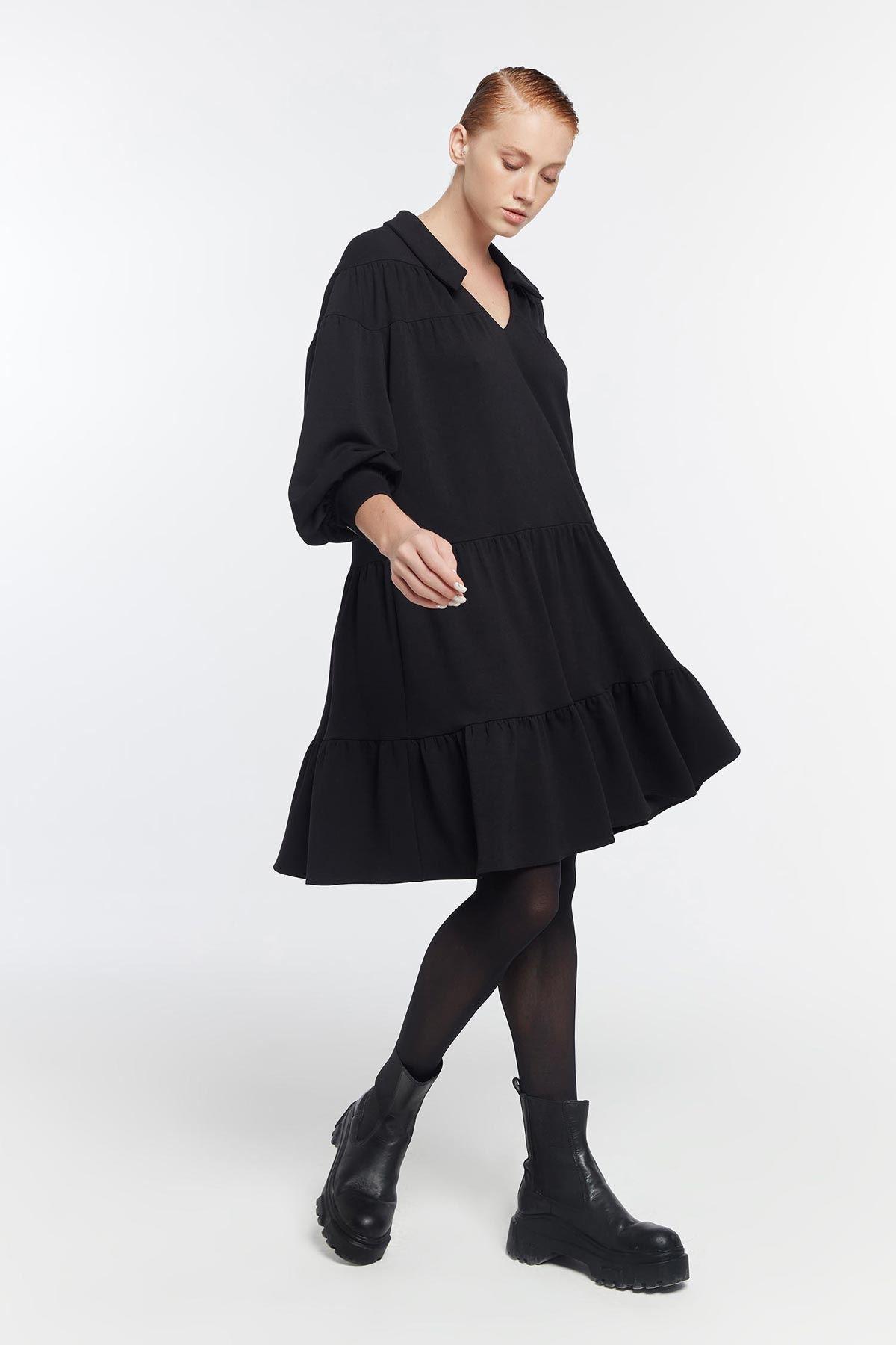 Oversize v yaka elbise Siyah
