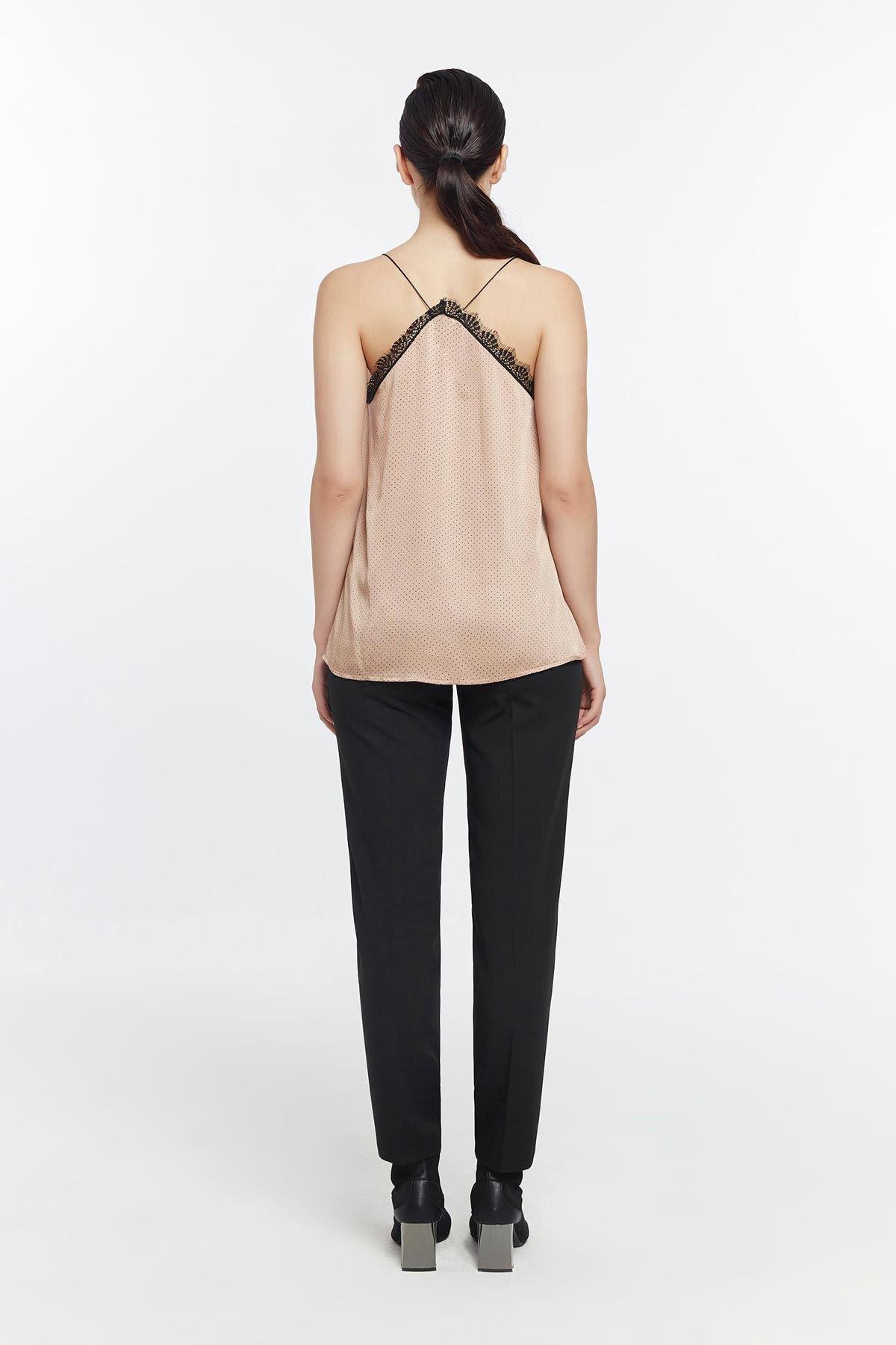 Puantiyeli bluz Vizon
