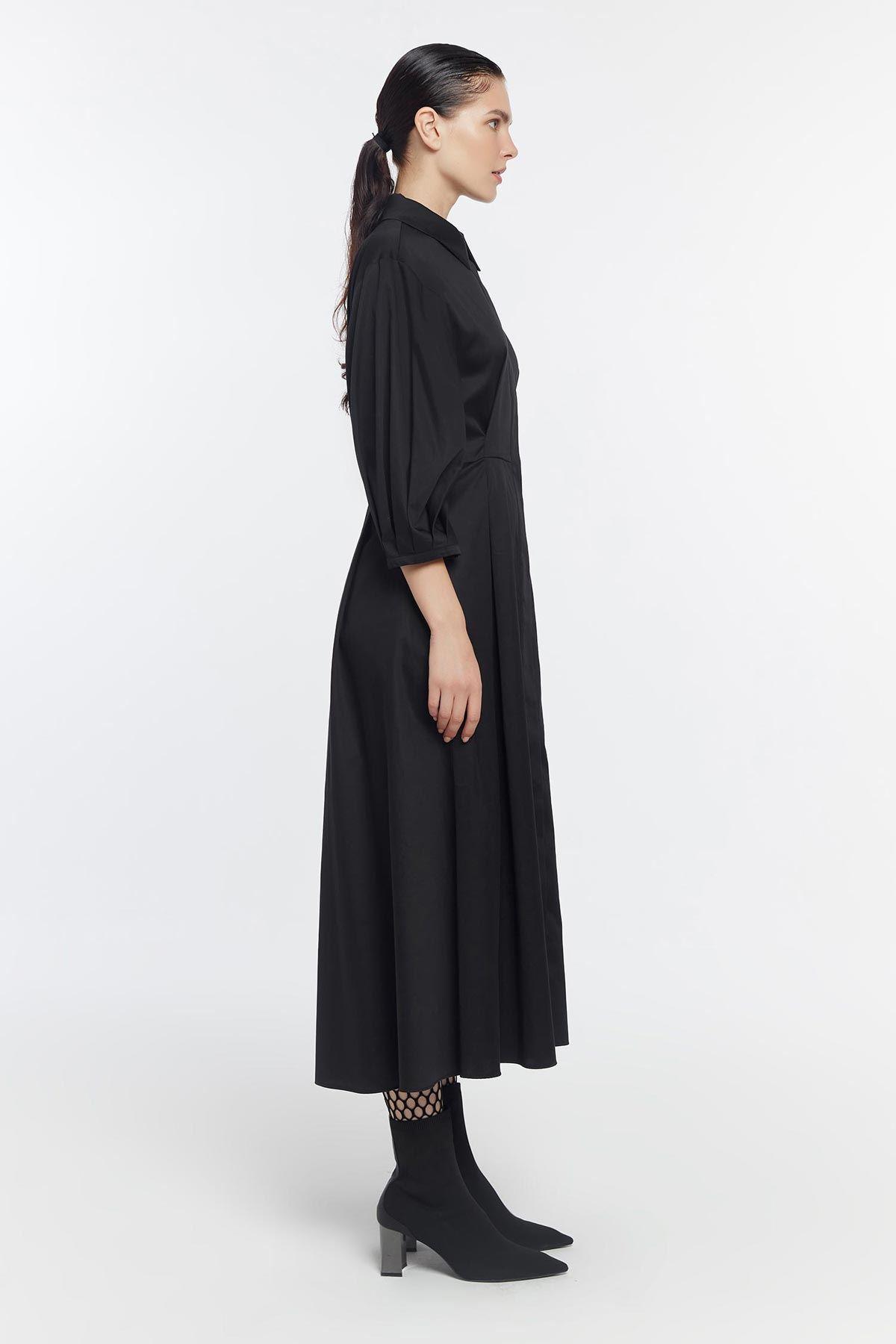 Balon kol nakış işlemeli elbise Siyah