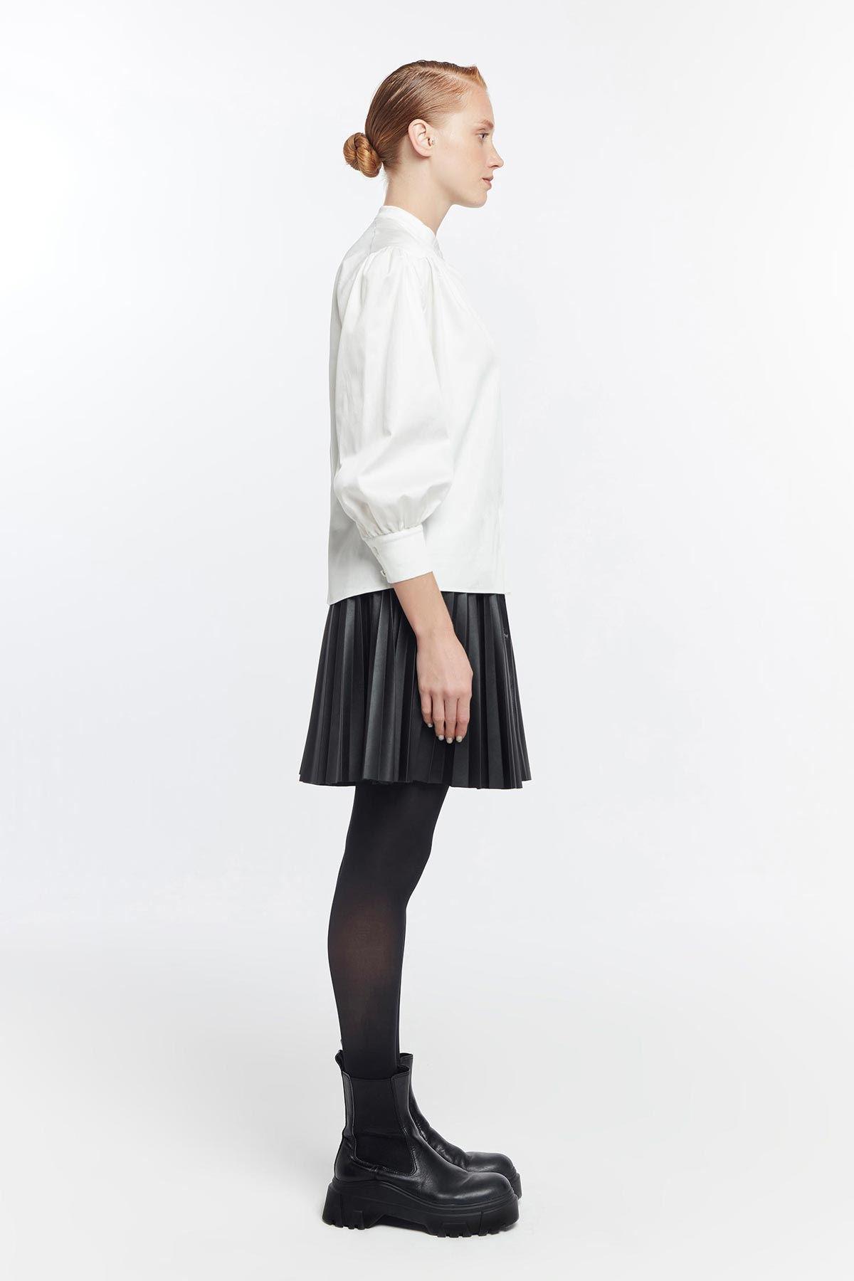 Omuz büzgülü gömlek Beyaz