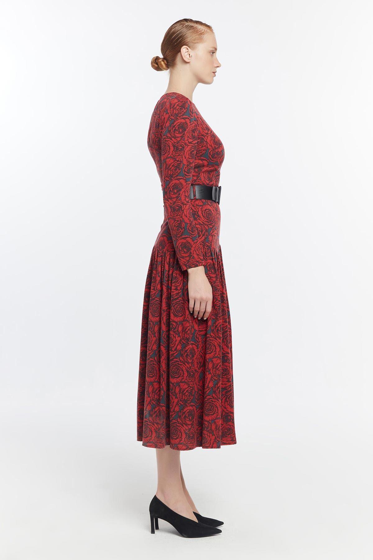 Çiçek desenli pilisole elbise Bordo