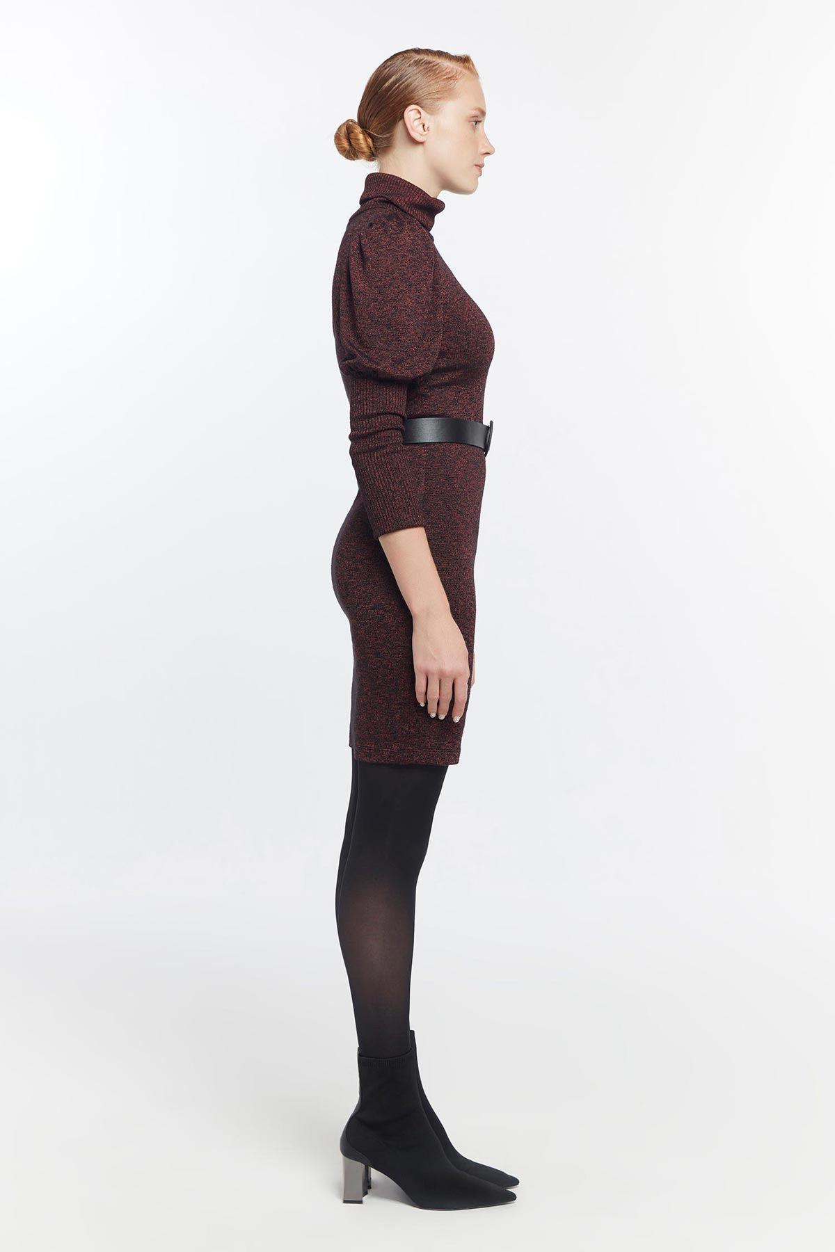 Streç örme elbise Bordo