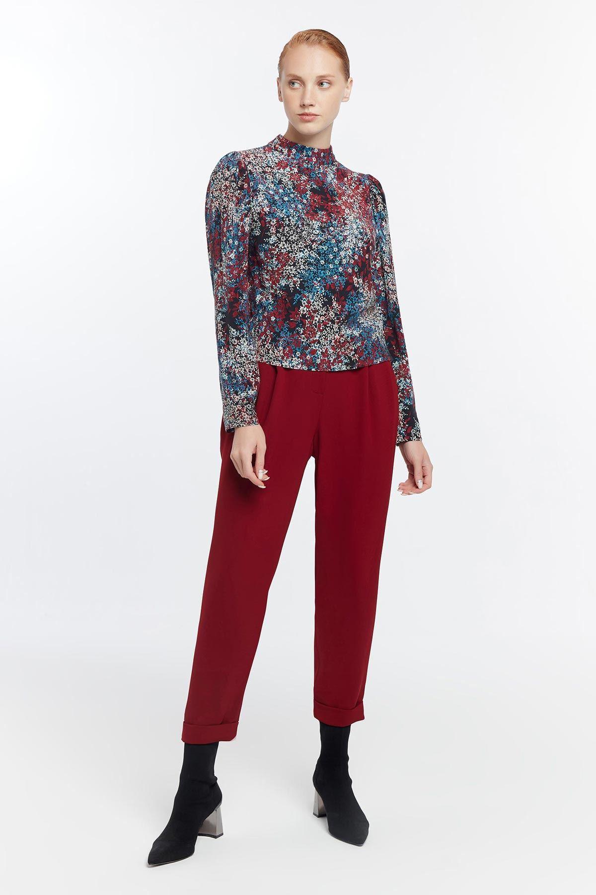 Çiçek desenli bluz Bordo