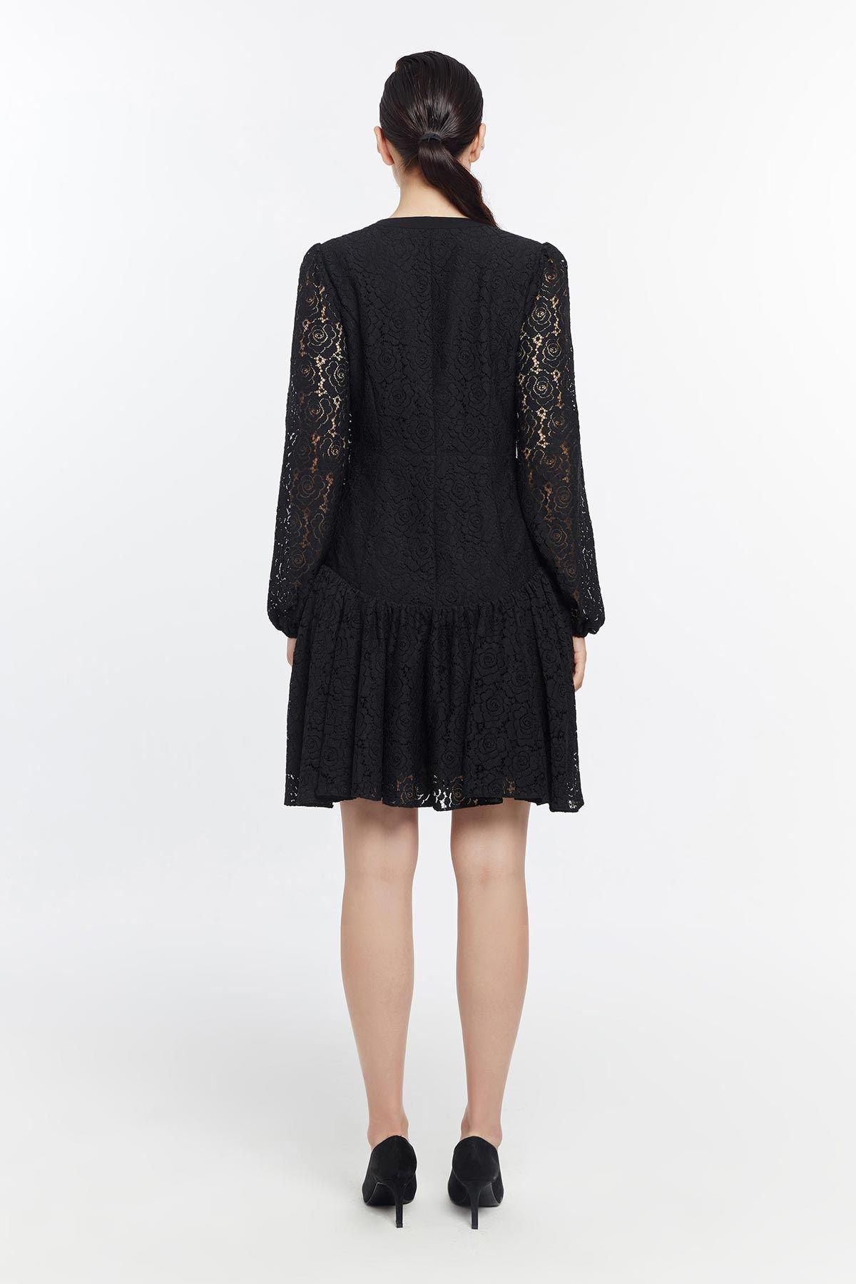 Ön fermuarlı dantel elbise Siyah