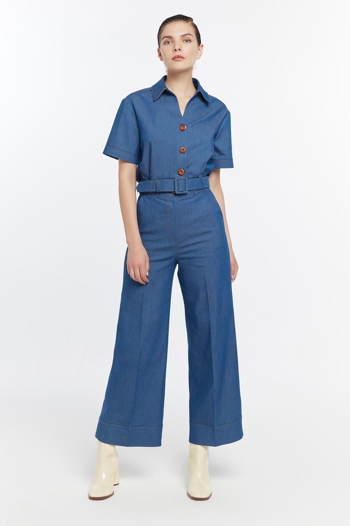 Yüksek bel culotte pantolon Mavi