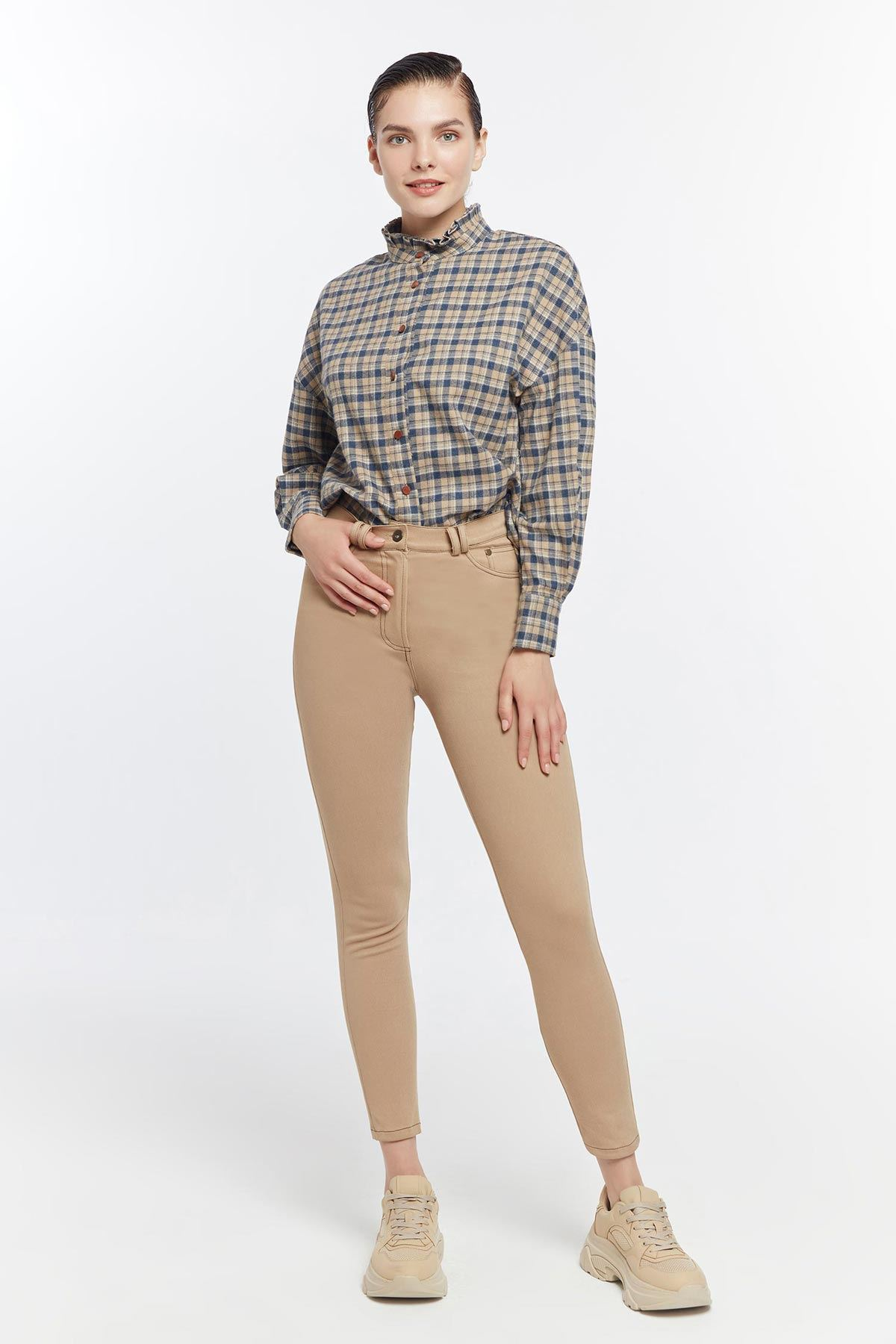 Punto dikişli skinny pantolon Camel