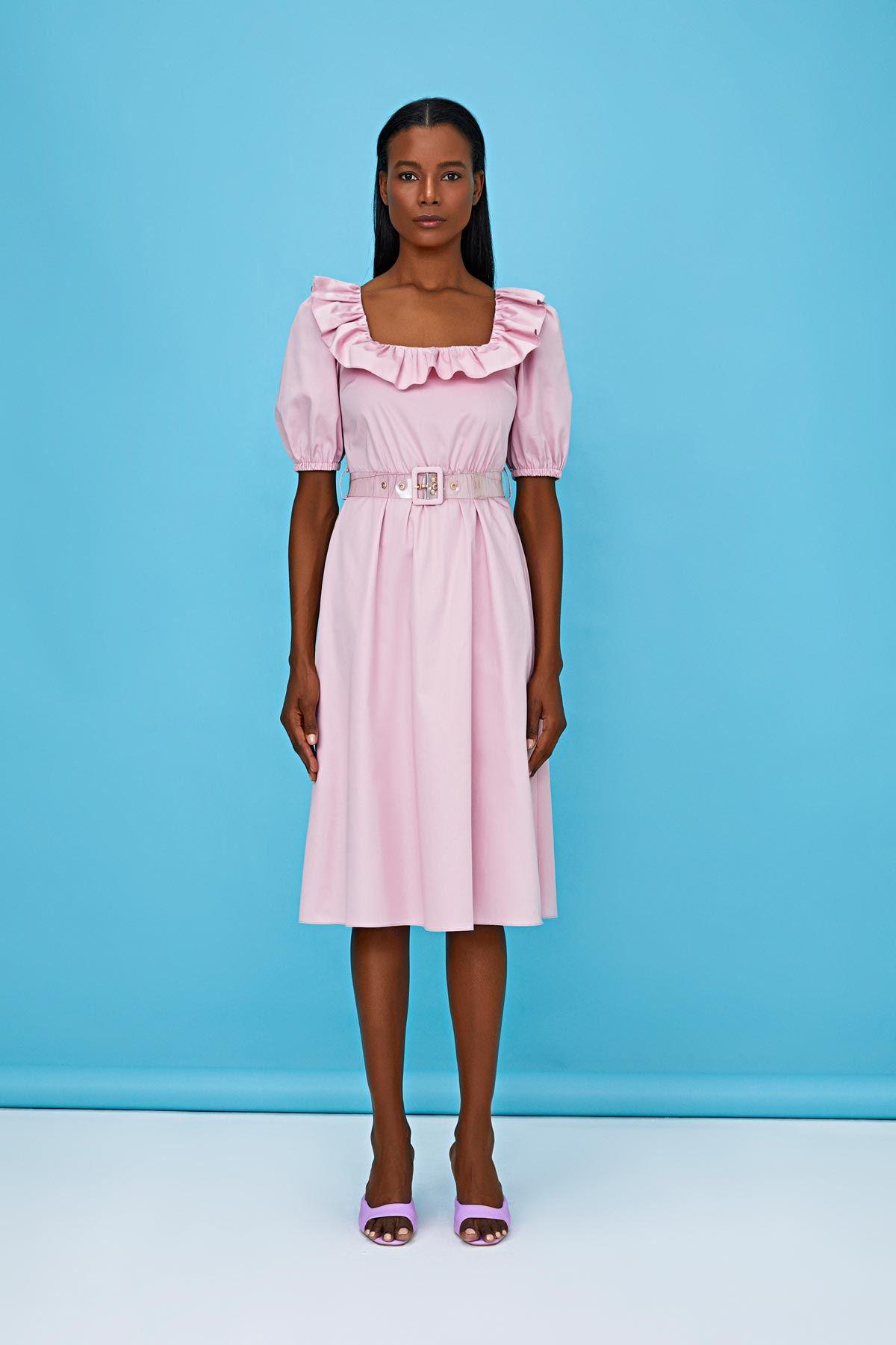 Fırfır şerit geçmeli kemerli elbise Pembe