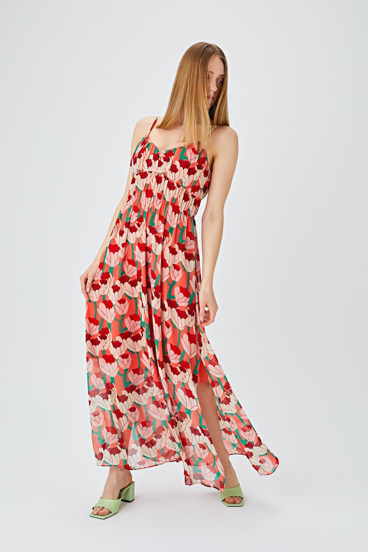 Desen baskılı midi elbise Multi