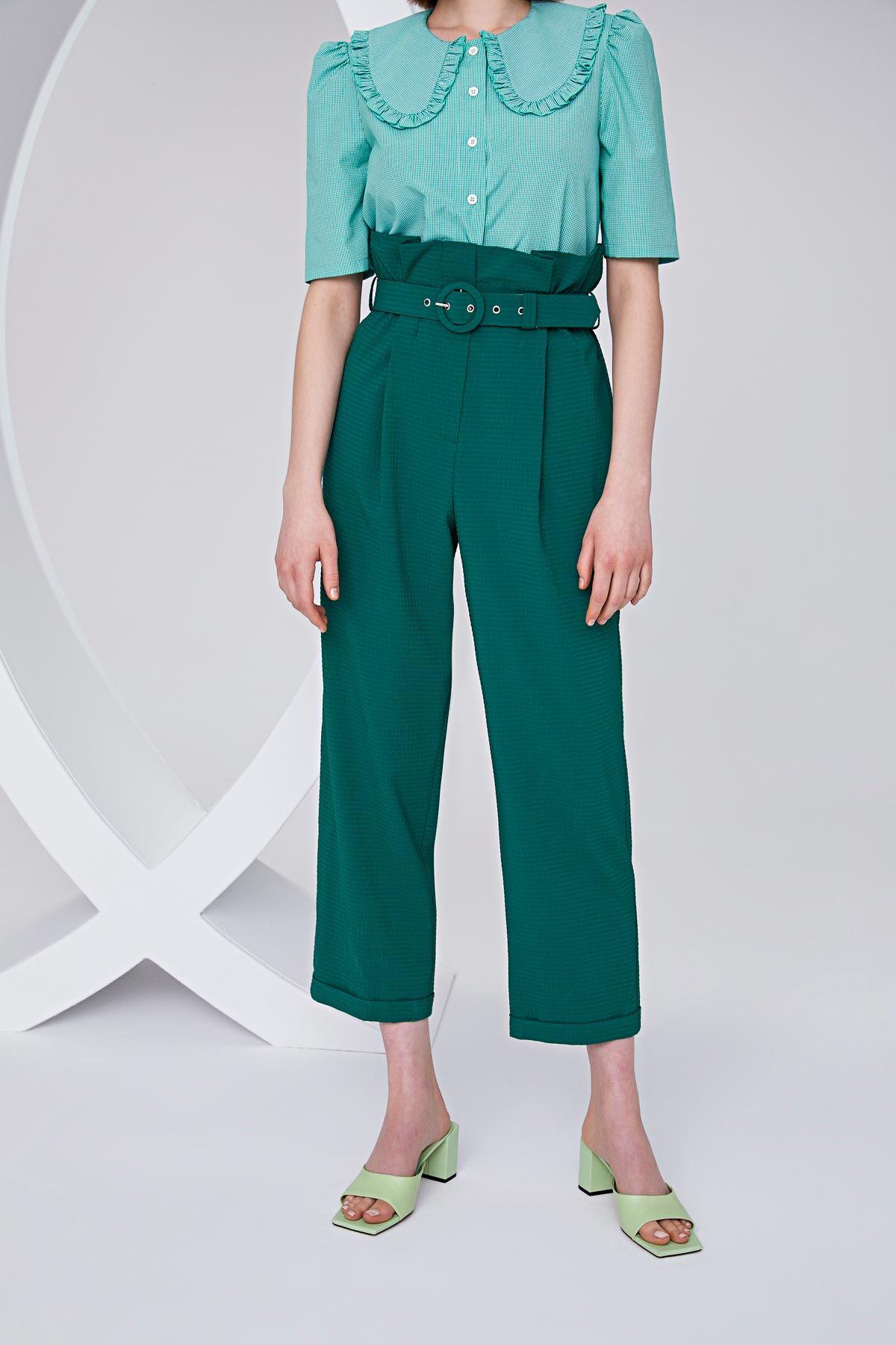 Yüksek bel havuç pantolon Nefti Yeşili