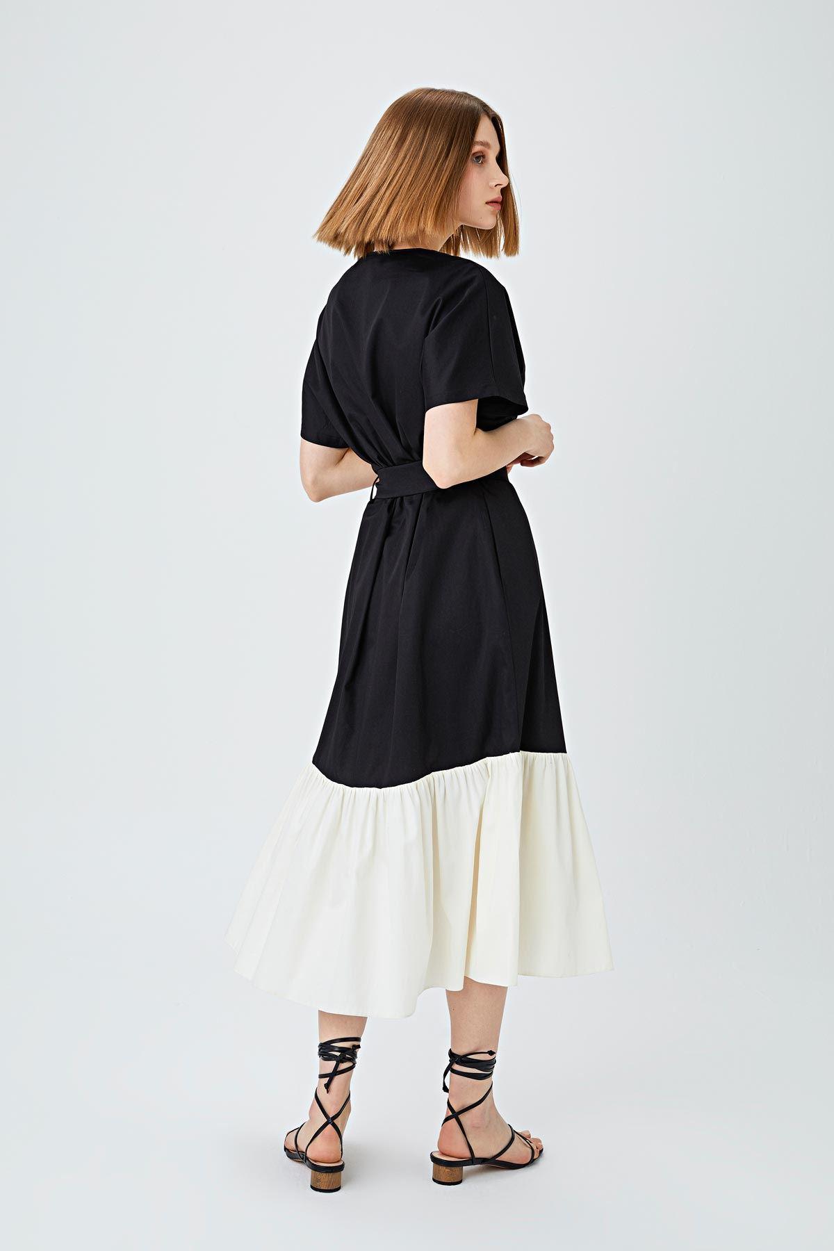 Color block oversize elbise Siyah