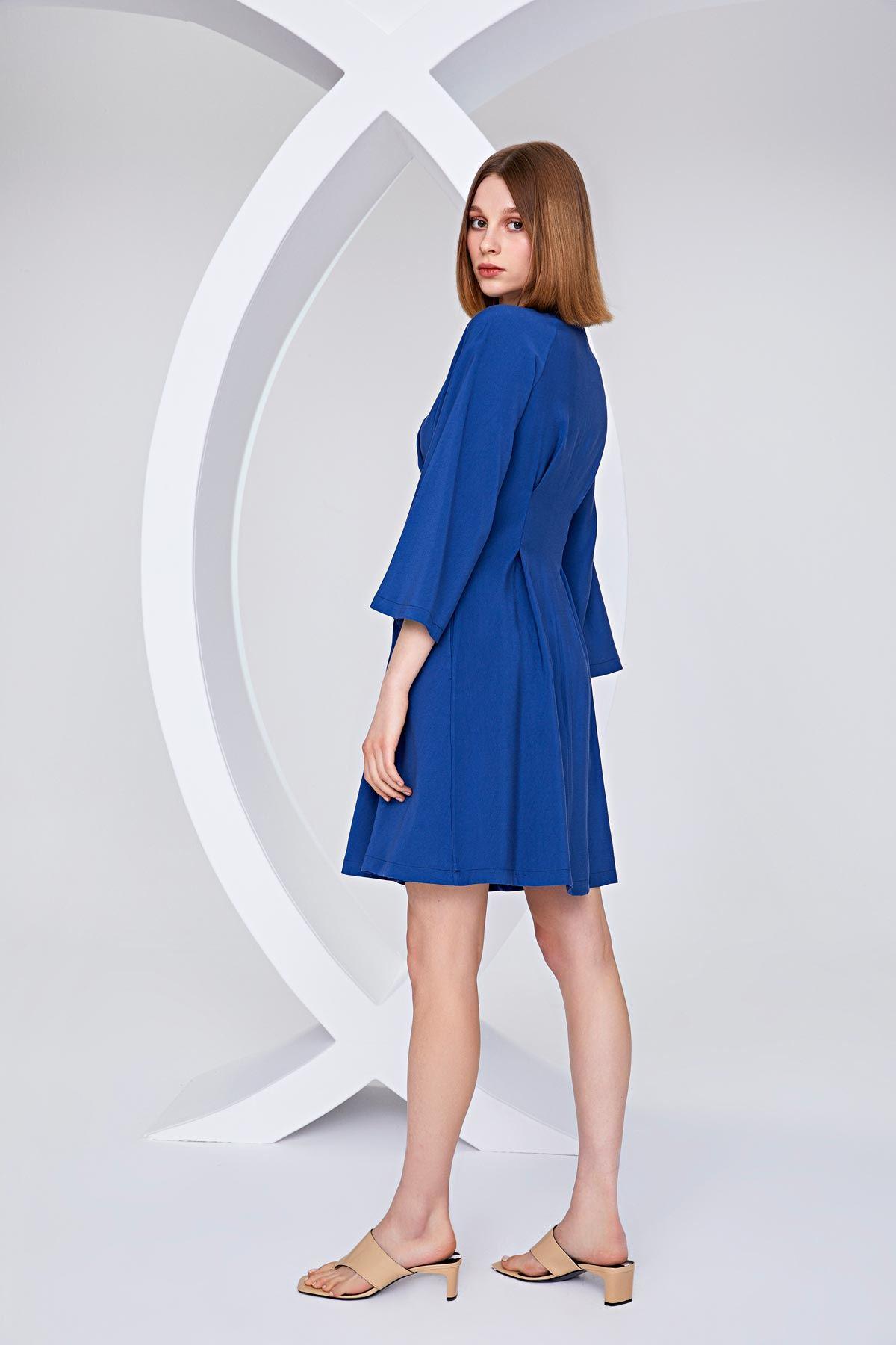 Ön bağcıklı elbise İndigo