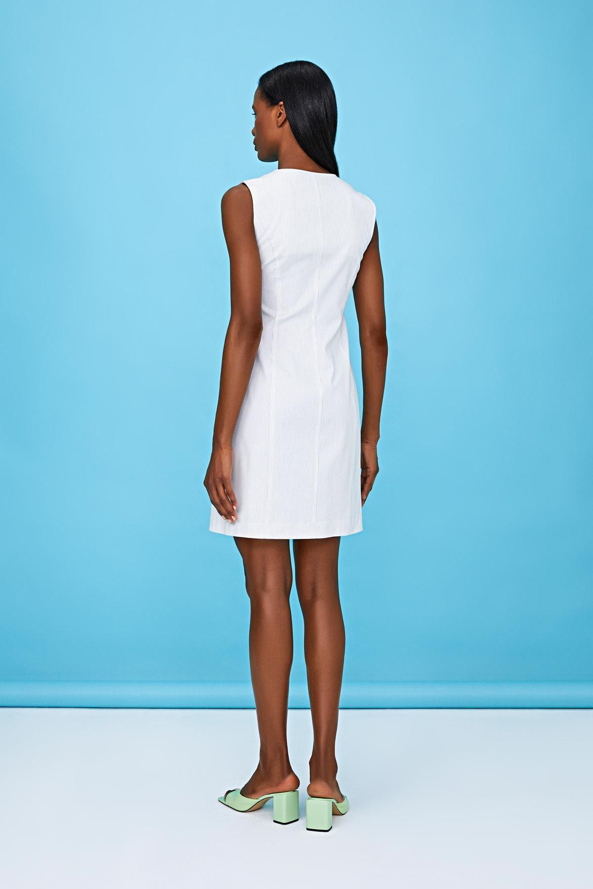 Nakış işlemeli elbise Ekru